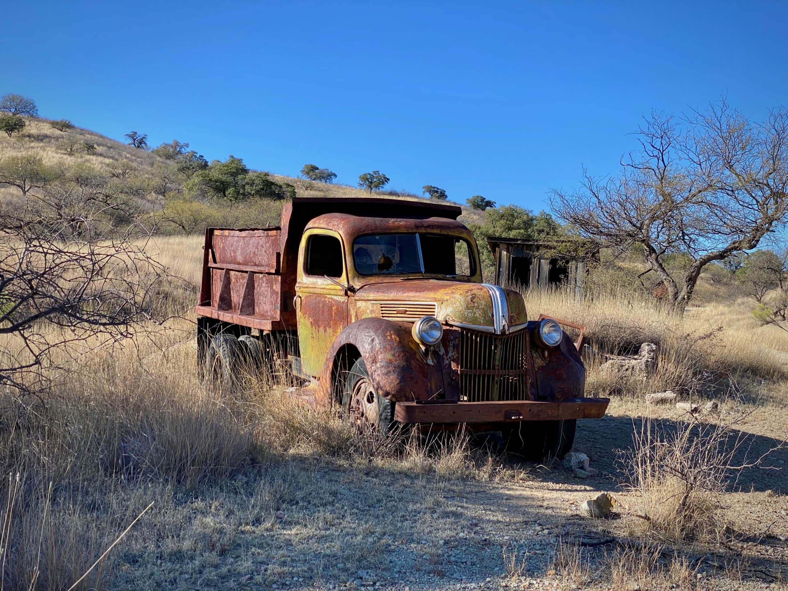 Old mining truck in the ghost town of Ruby south of Arivaca, Arizona.