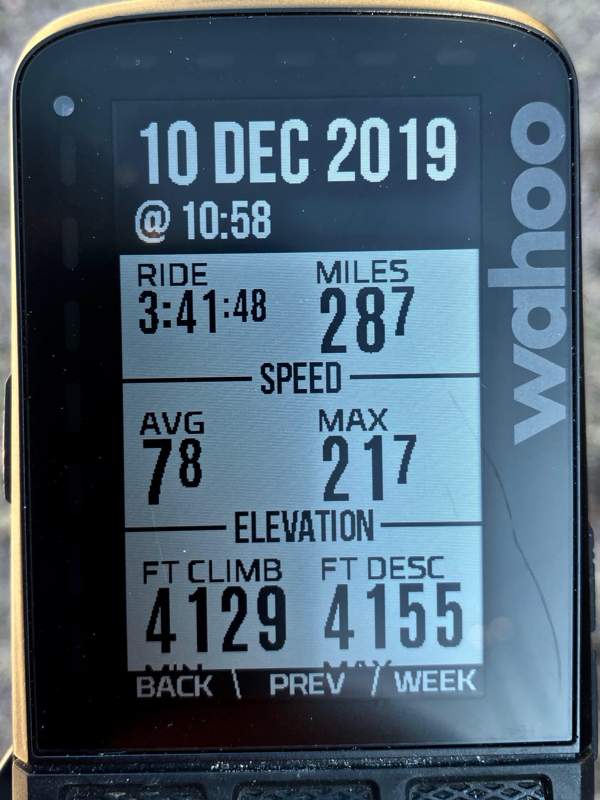 Ride metrics on Wahoo device for course on Ruby road south of Tucson, Arizona.
