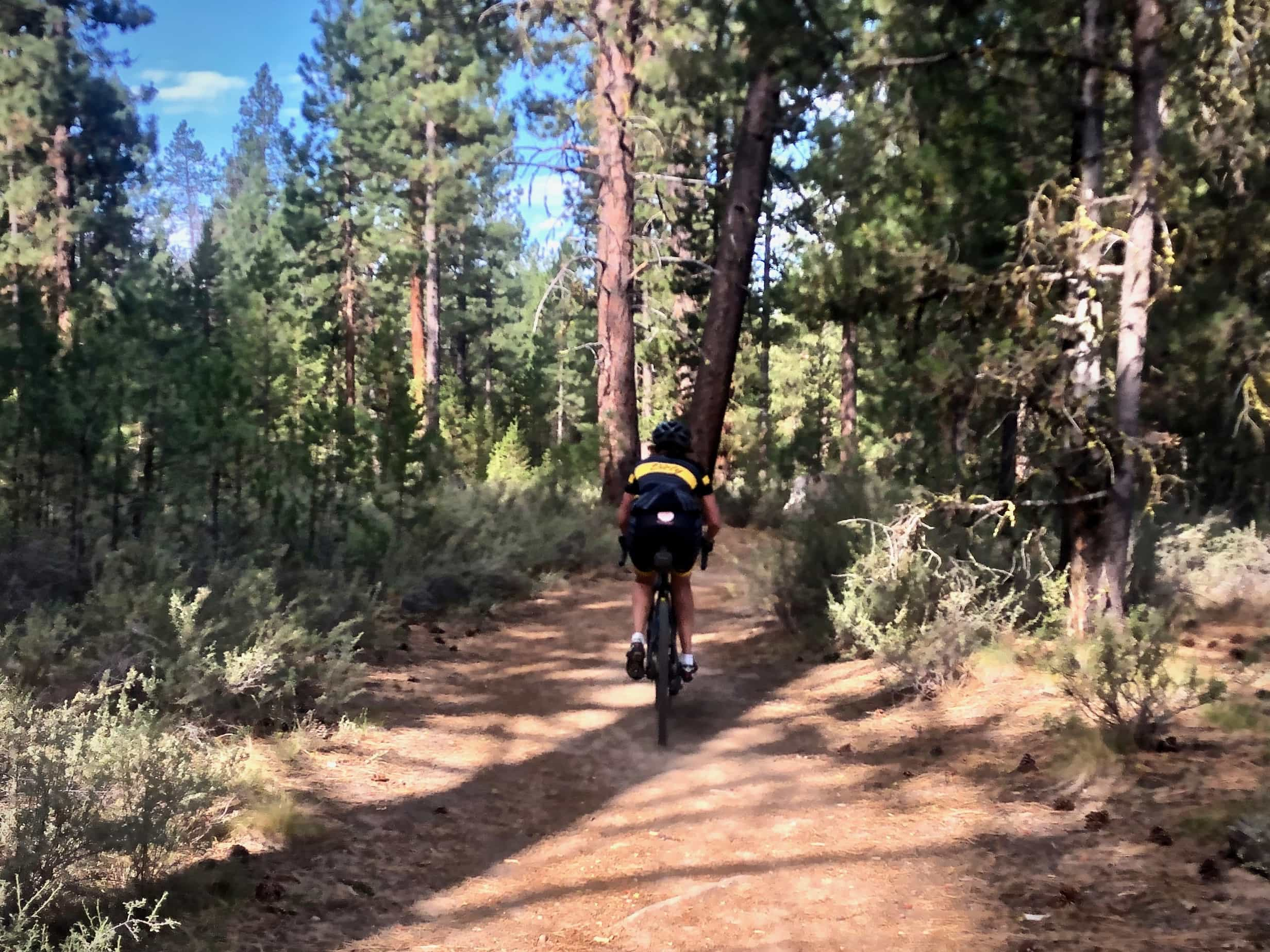 Gravel cyclist on dirt trail in LaPine State Park, Oregon.