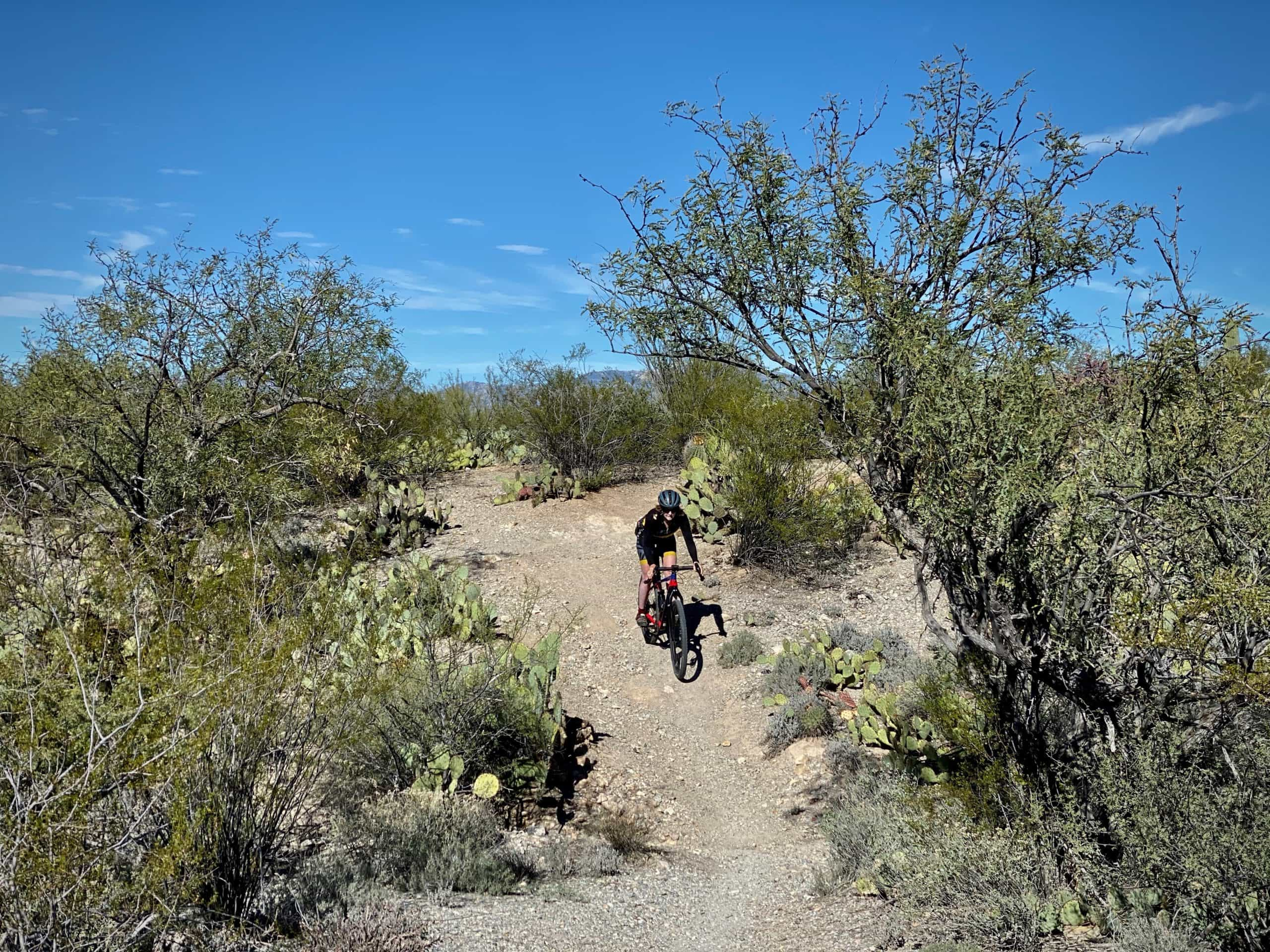 Woman cyclist descending into wash in Saguaro National Park (east).