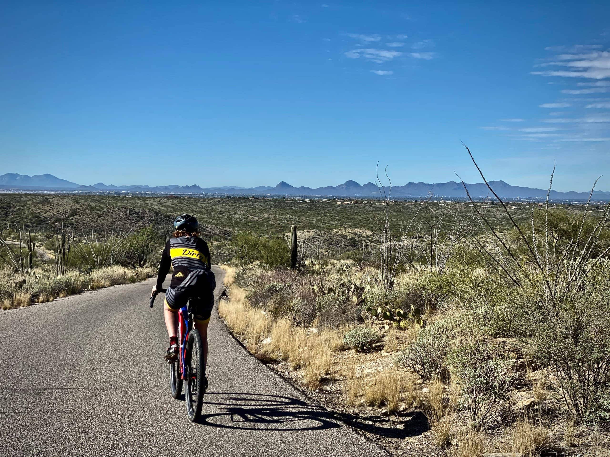 Woman cyclist on paved road in Saguaro National Park (east) overlooking Tucson.