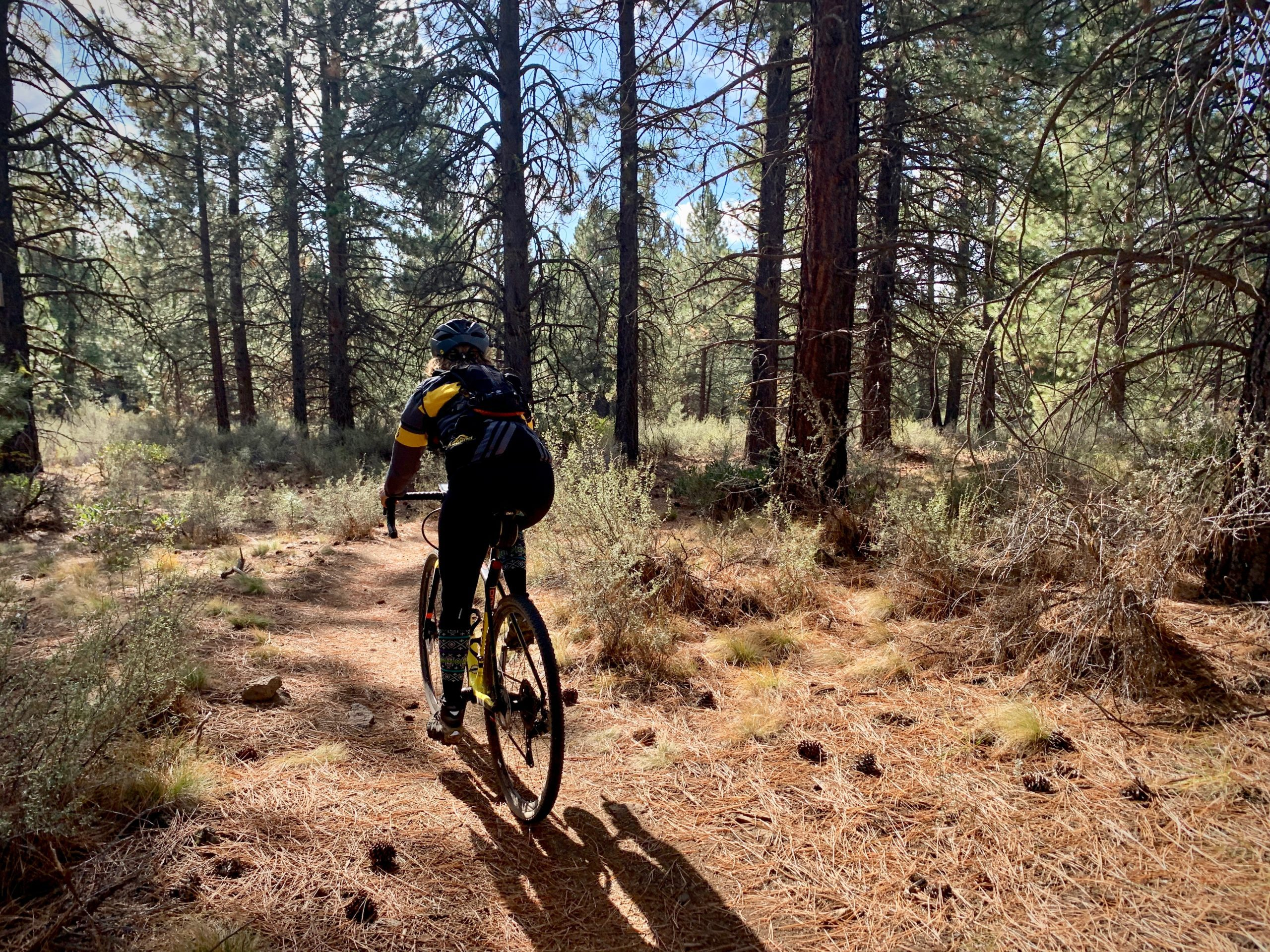 Gravel Girl on Catch & Release mountain bike trail in Deschutes National forest.