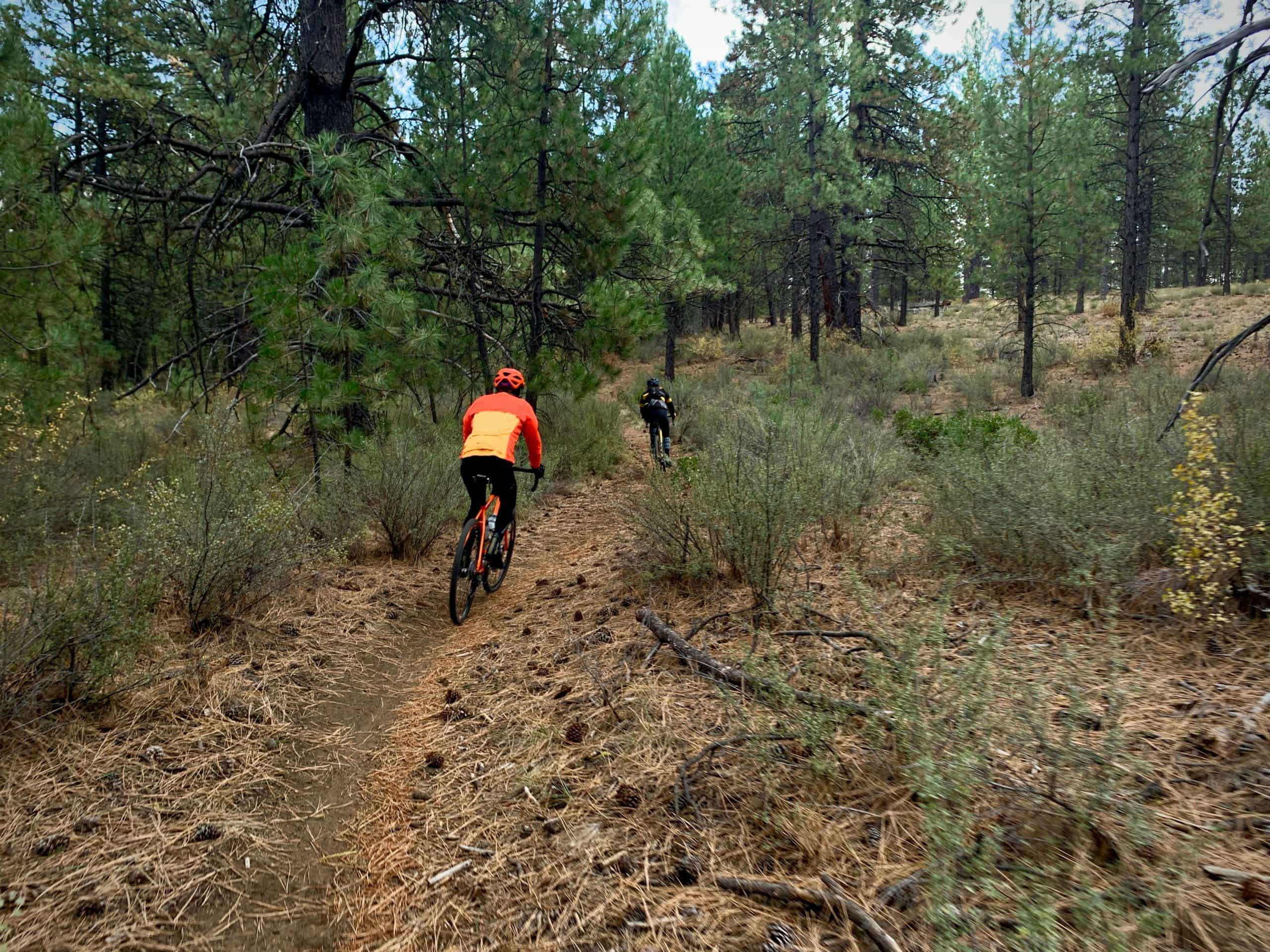 Cyclist on gravel bike riding single track in Deschutes National Forest in Oregon.