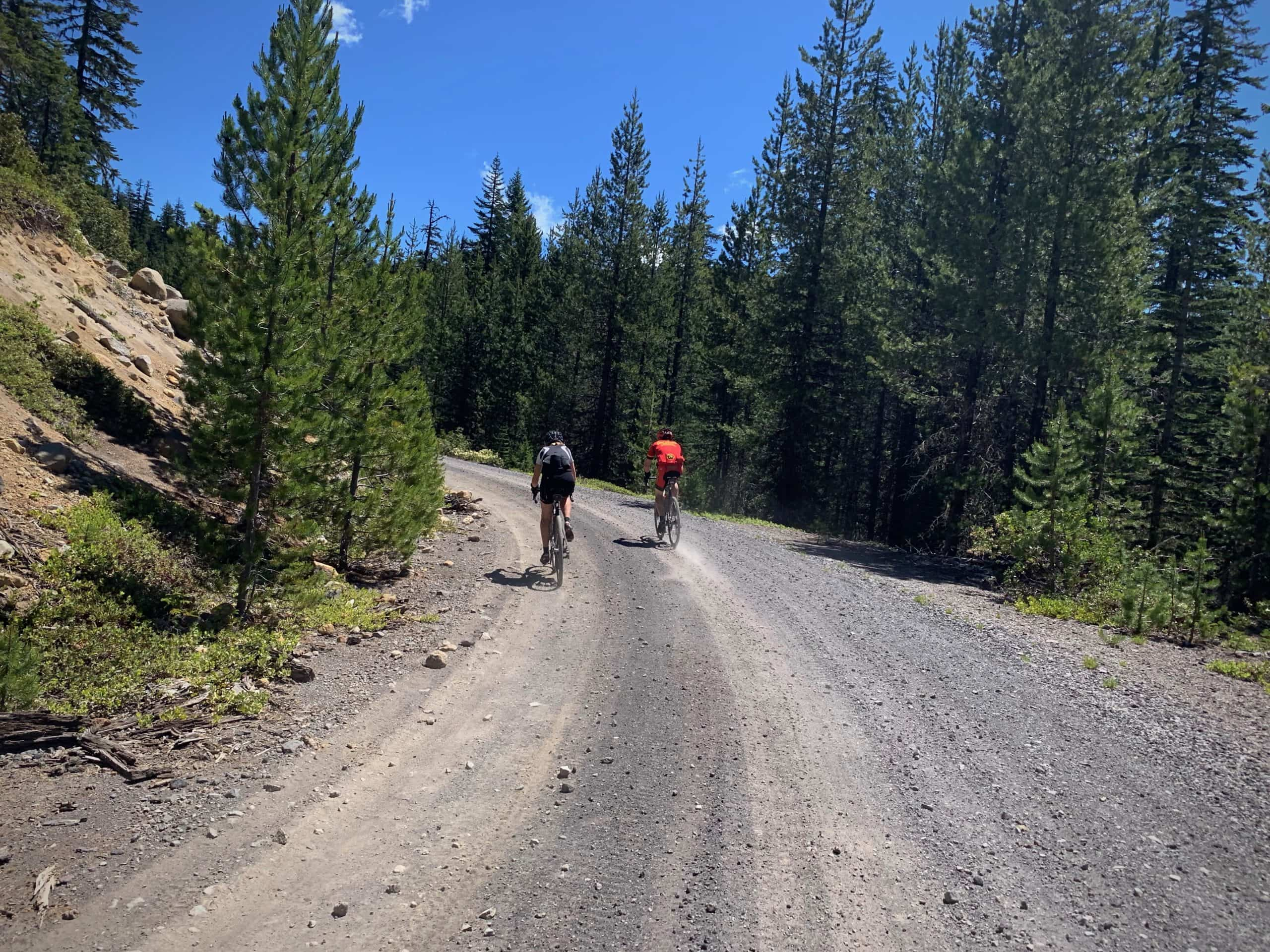 Two gravel bike riders in the Siuslaw National Forest near the Oregon coast.