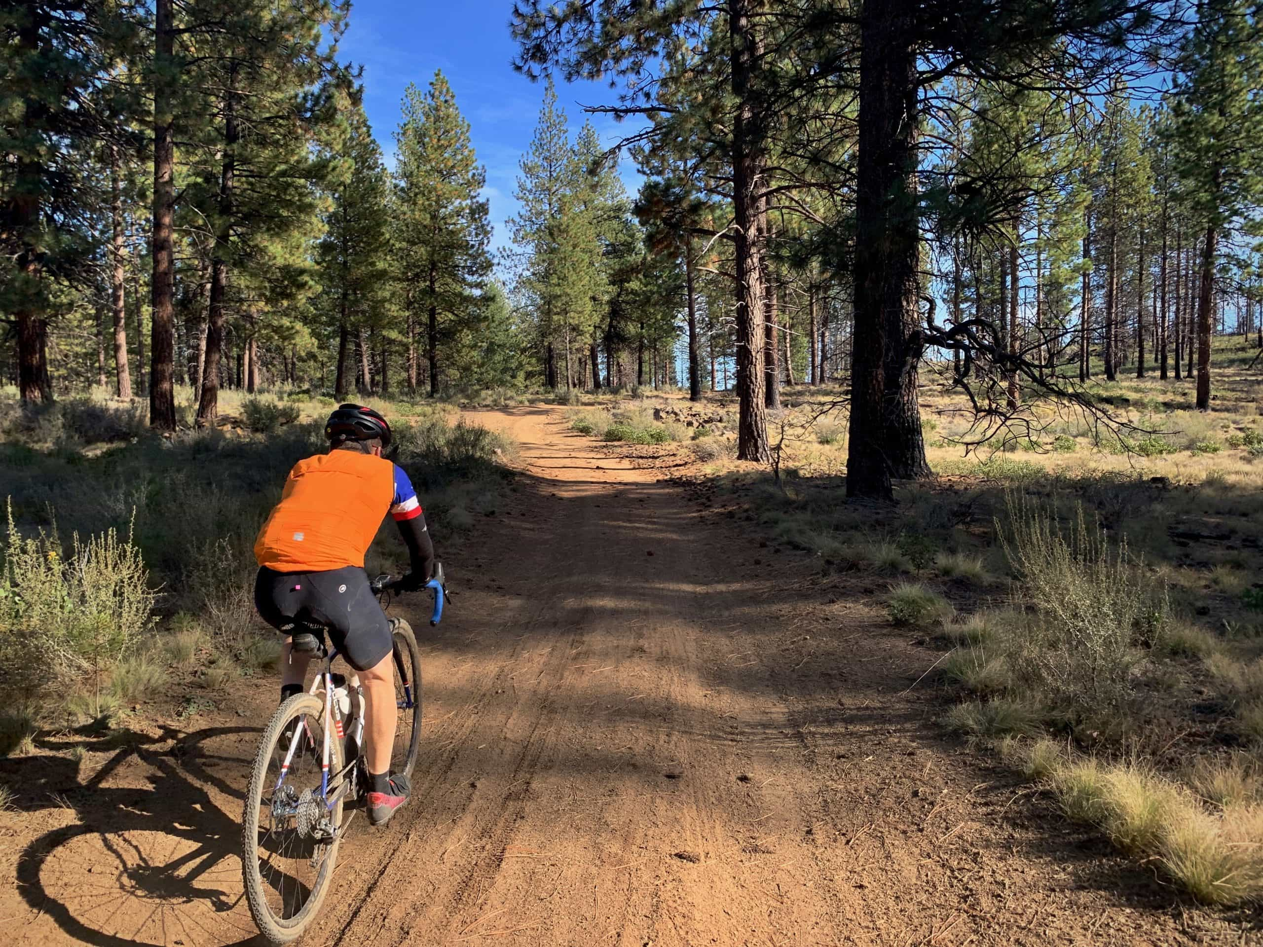 Cyclist on Forest Service road near Phil's Trailhead in Bend, Oregon.