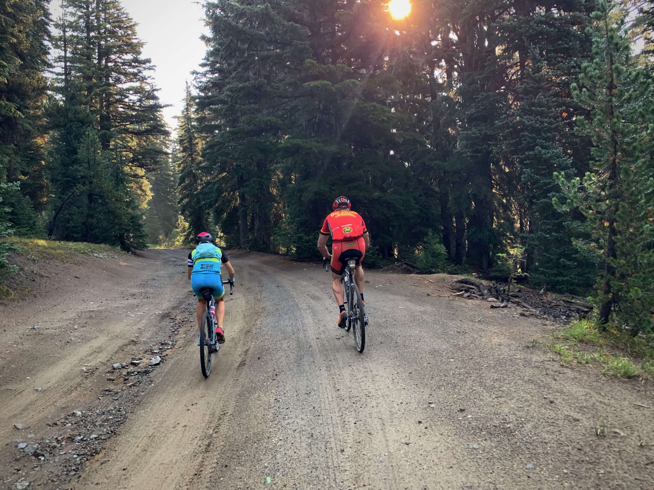 Gravel cyclists on forest roads near Todd Lake in Deschutes National Forest.