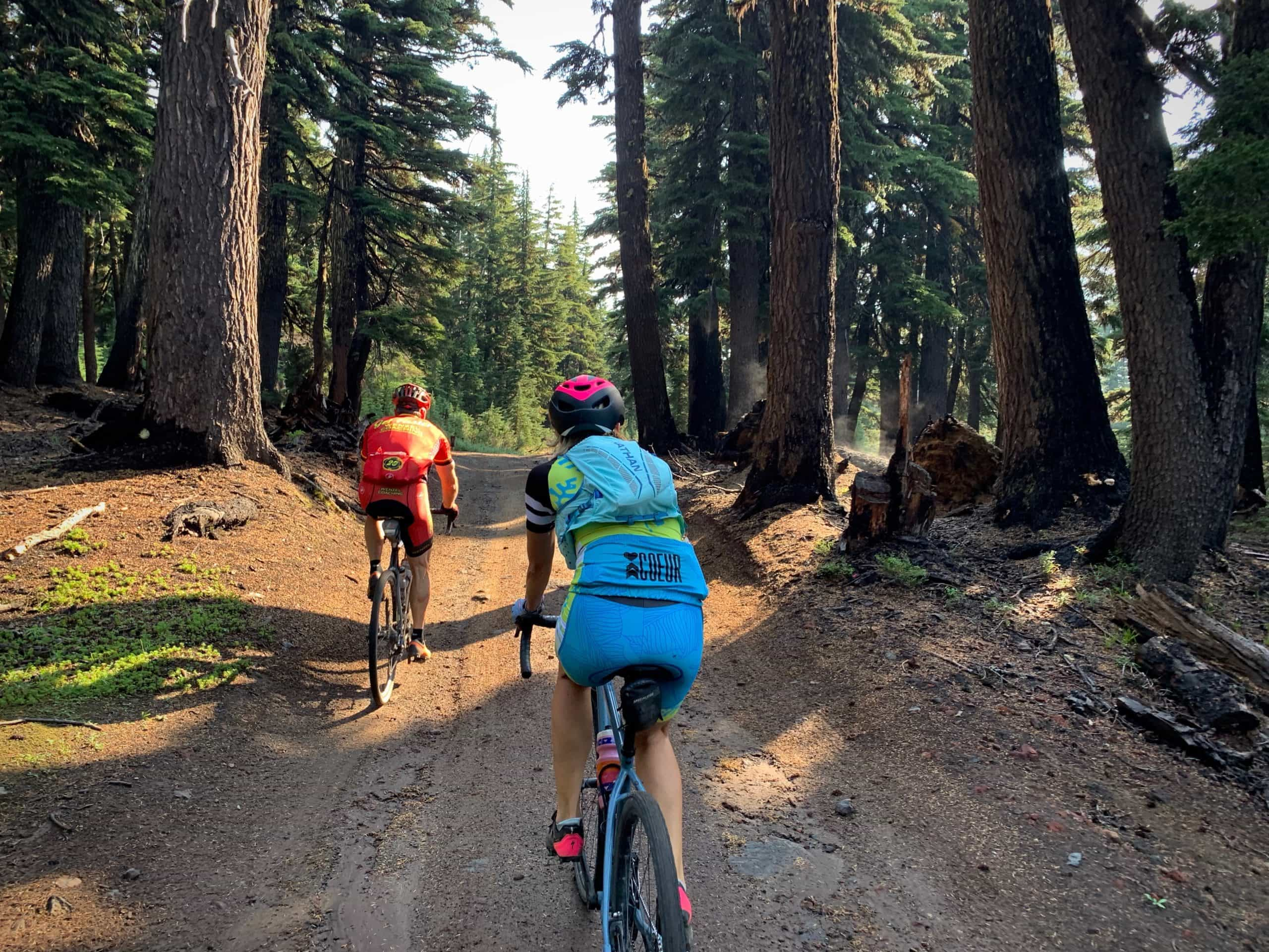 Gravel cyclists in the deep woods in the high country of the Deschutes National forest.