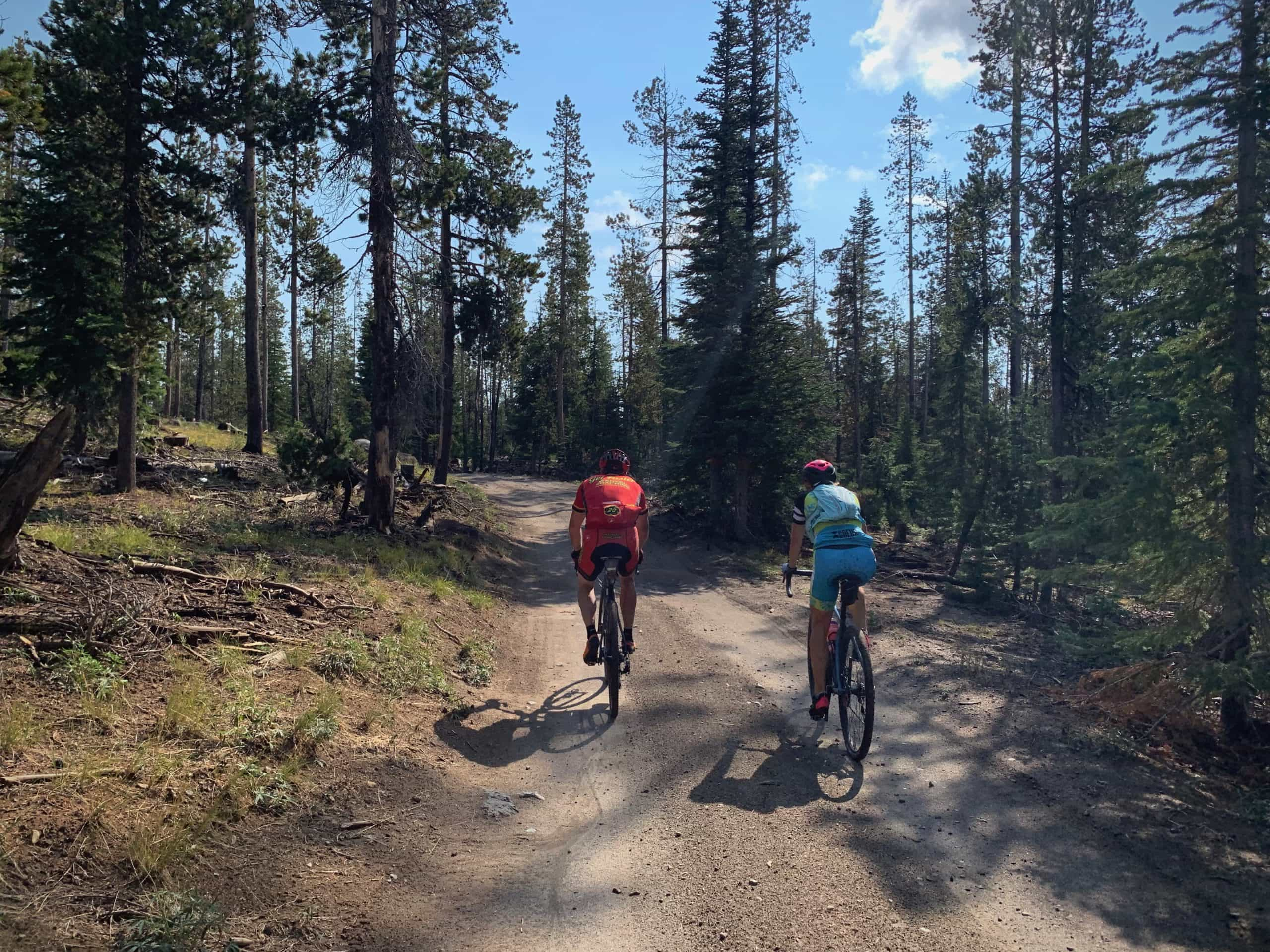 Two cyclists riding forest service roads on gravel bike near Bend, Oregon.