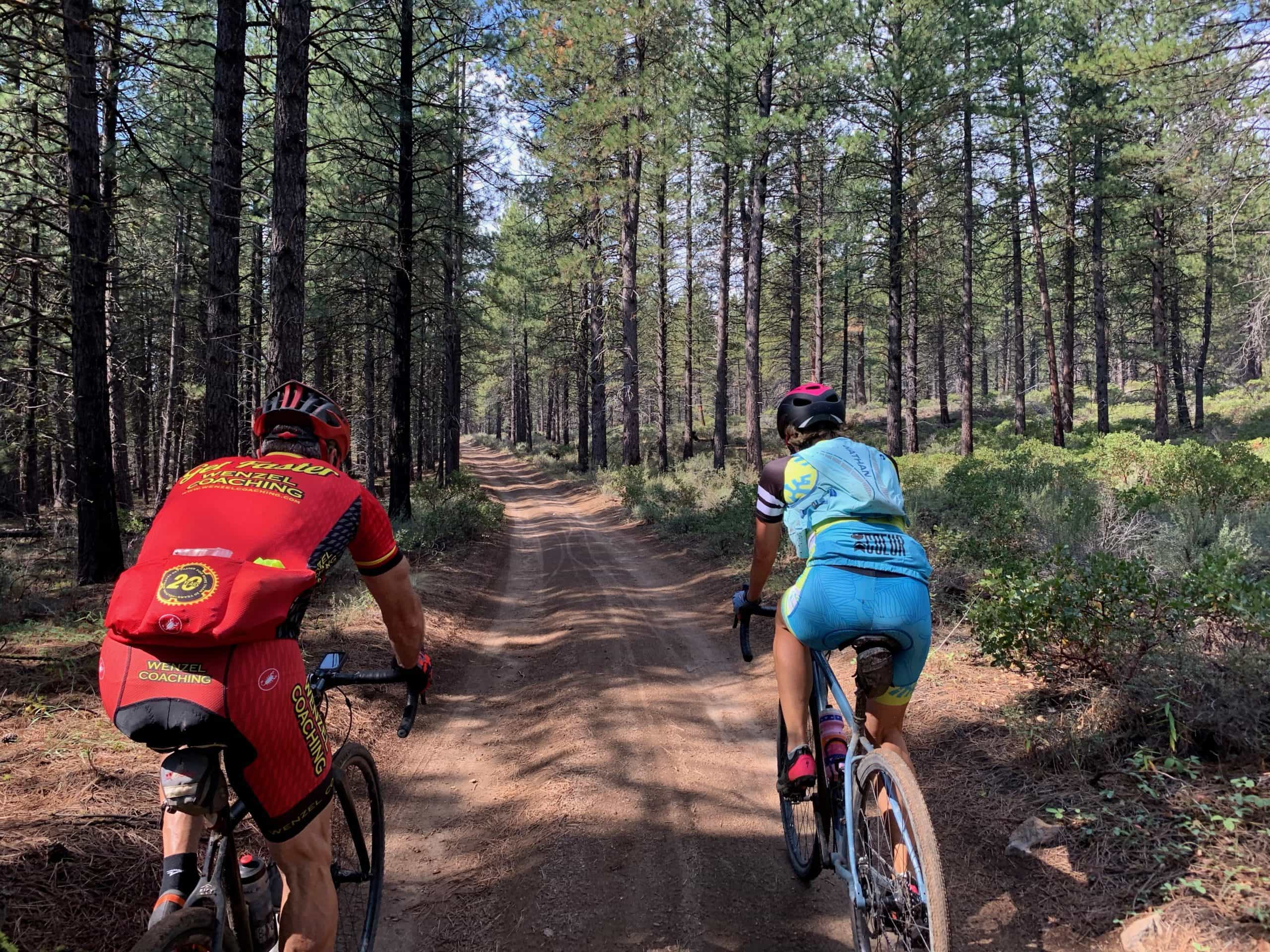 Gravel cyclists in the Deschutes National forest near Phil's Trailhead.