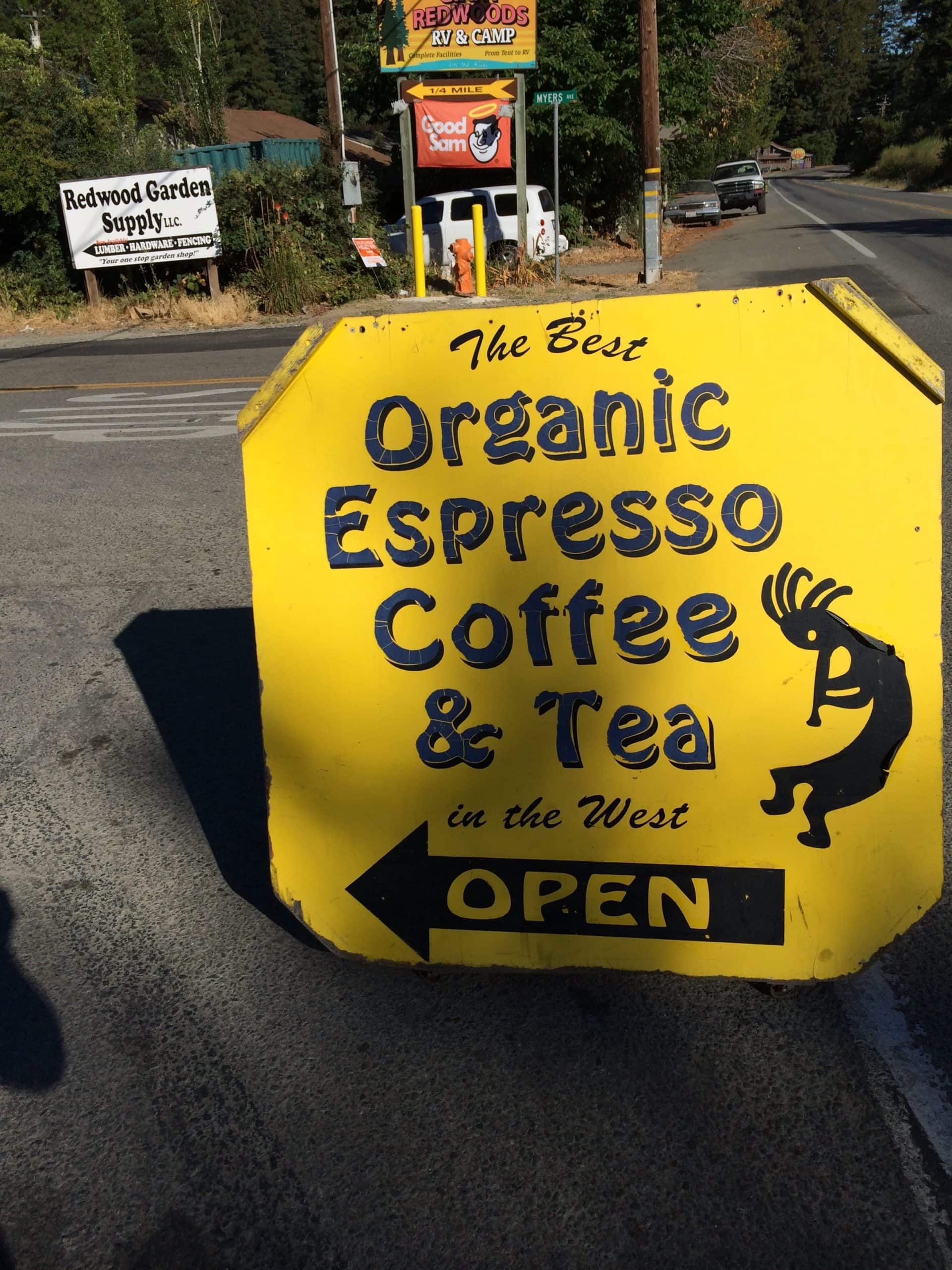 Sign for coffee at Myers Flat along the Avenue of the Giants in California.