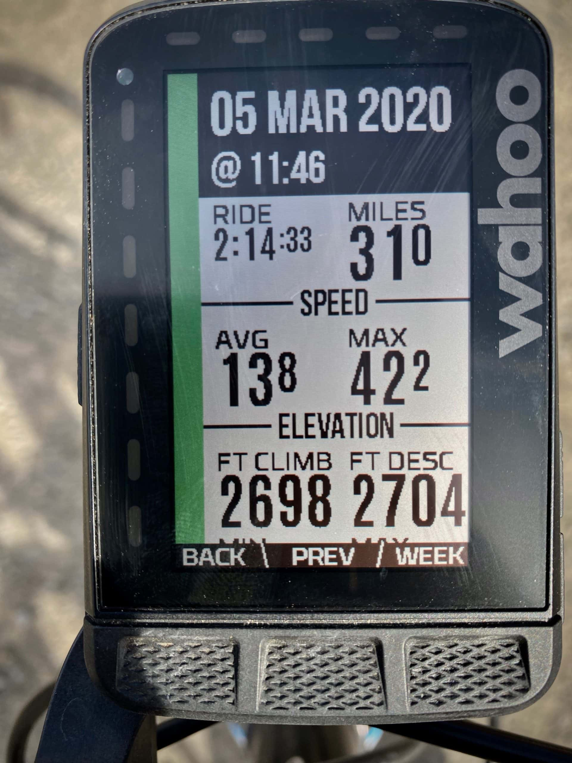 Captain O's ride metrics for The Big One6 route near Madras, OR.