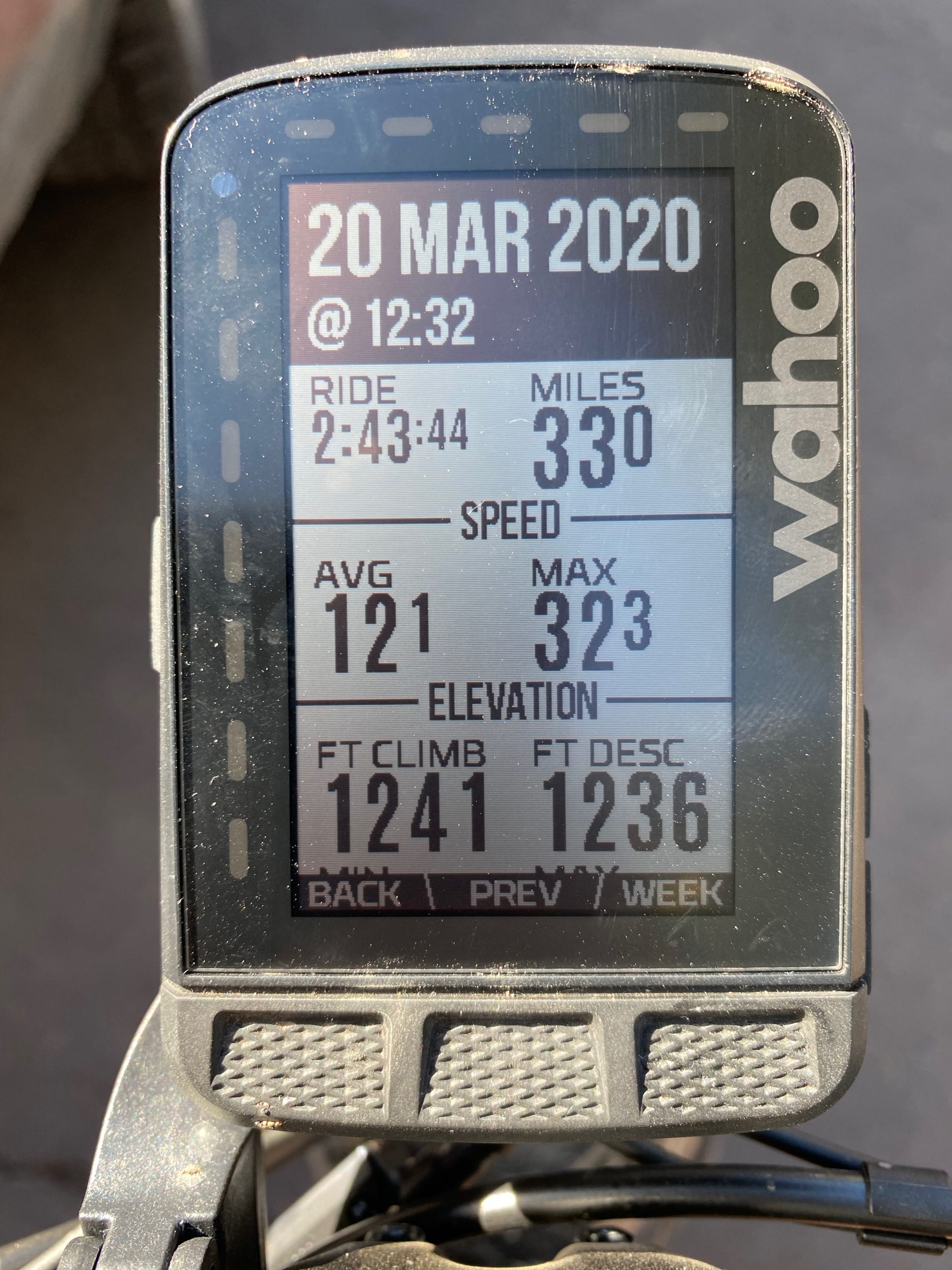 Gravel Girl's ride metrics from the In Plain View route from Dirty Freehub on her Wahoo Roam device.