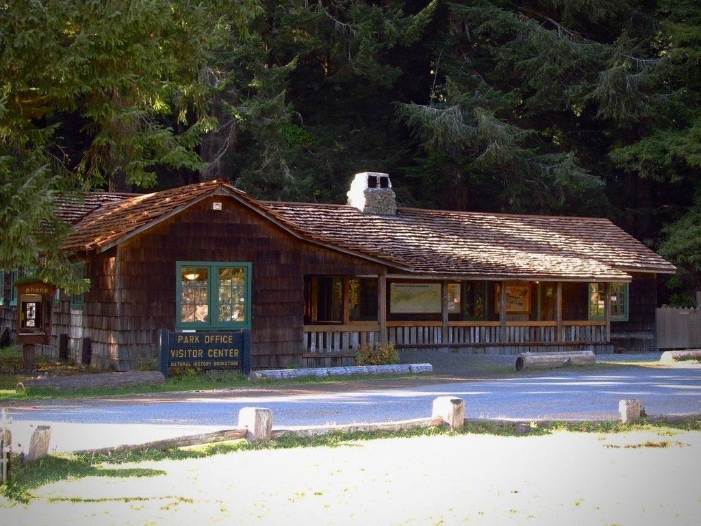 Prairie Creek Redwoods visitor center in Northern California along the coast.
