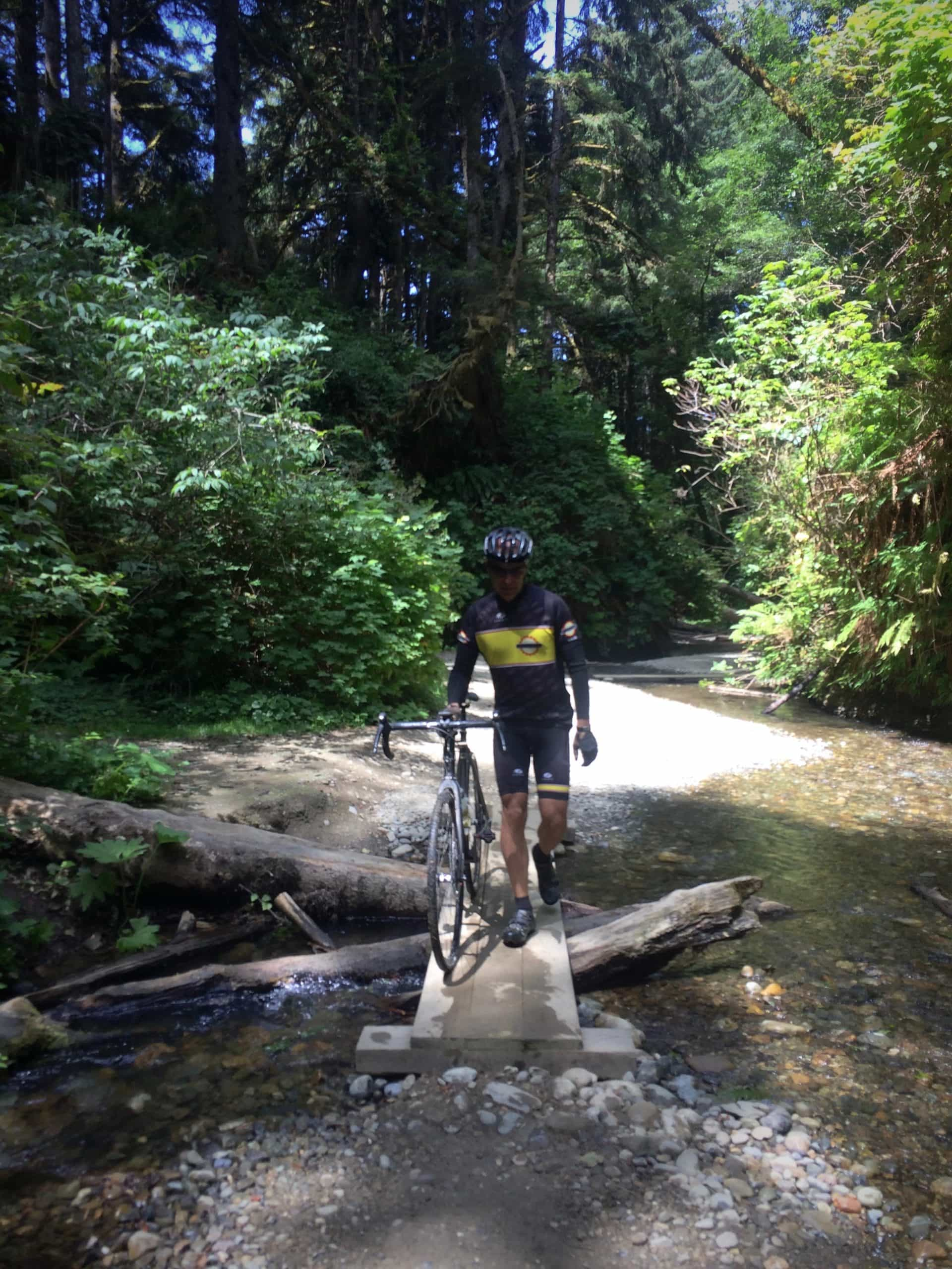 Gravel cyclist walking bike in Fern Canyon in Redwoods State Park near Crescent City, CA.