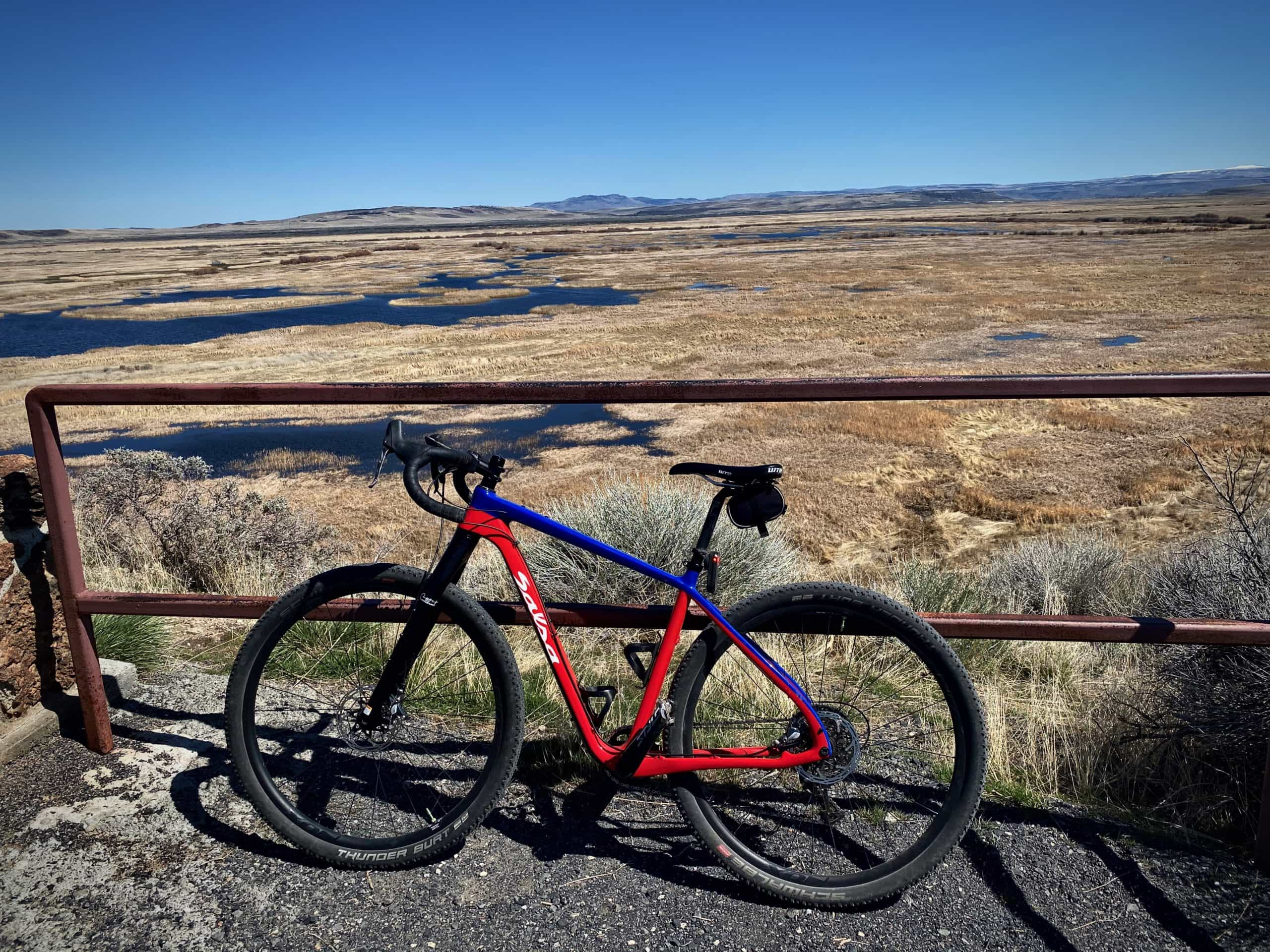 Bike with wetlands in background. Picture taken from Buena Vista butte near Burns, OR.