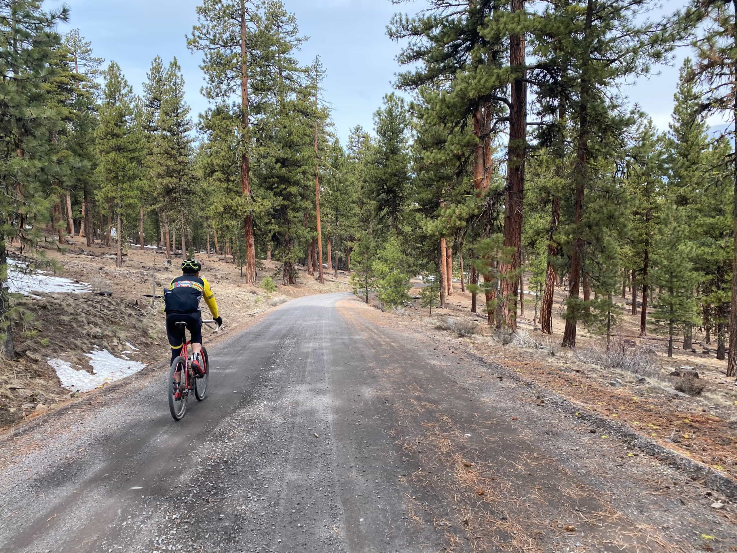 Gravel cyclist descending gray gravel road off the north side of Pine Mountain near Prineville, OR.