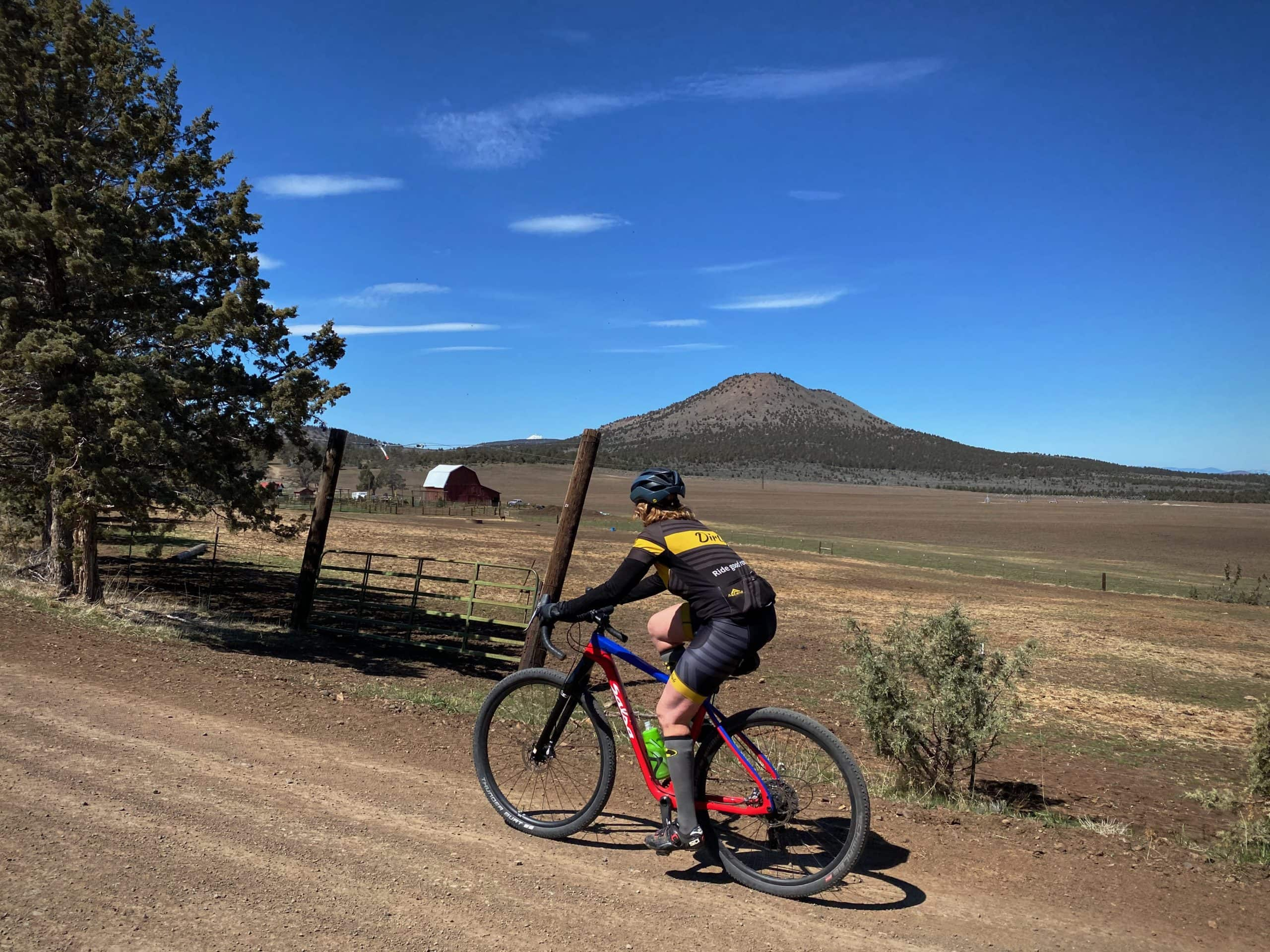 Gravel Girl on the beginning of the second gravel sector - smooth and fast! Near Redmond, OR.