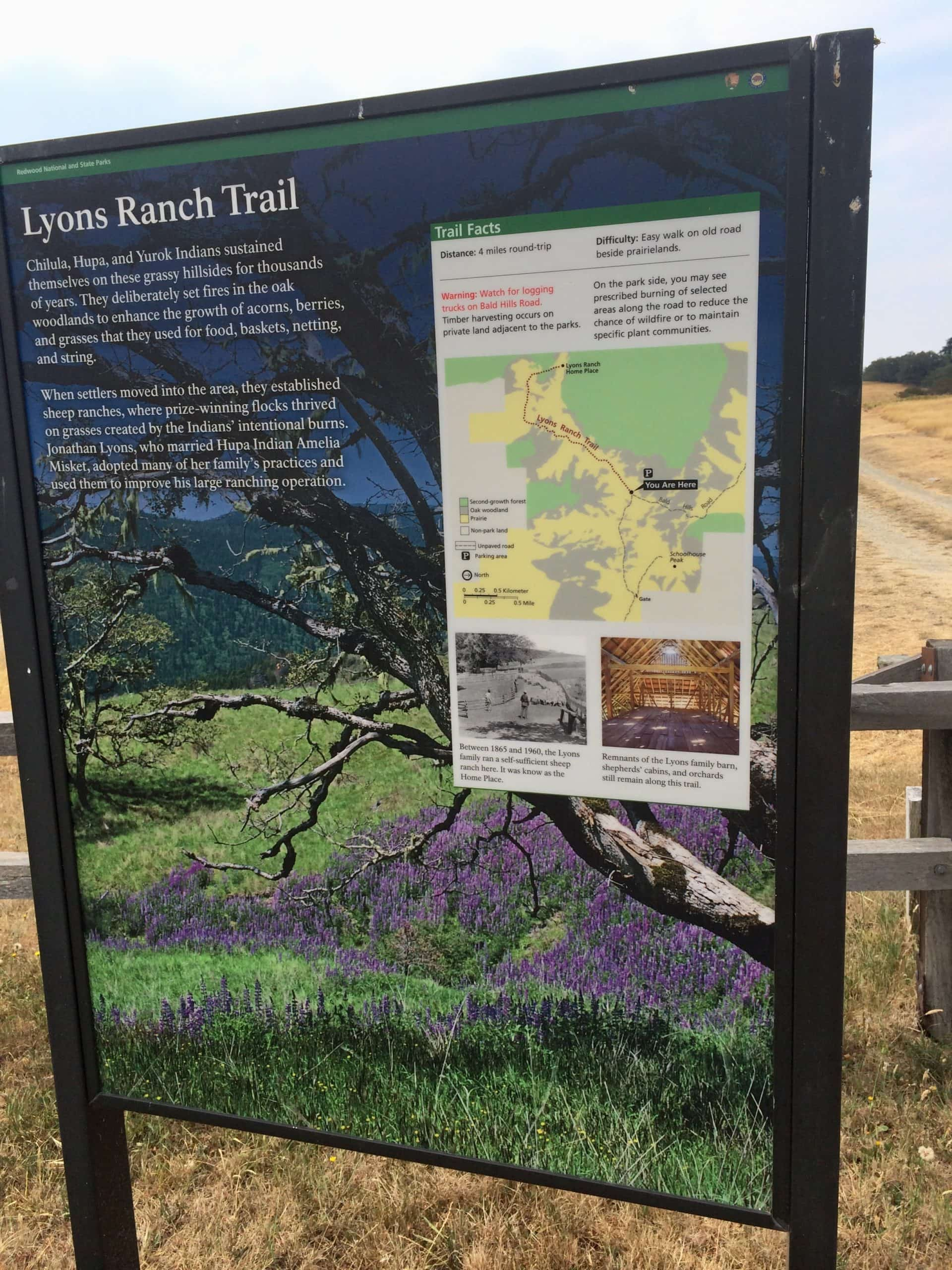 Lyons ranch trailhead sign in Redwood National park in Humboldt county California.