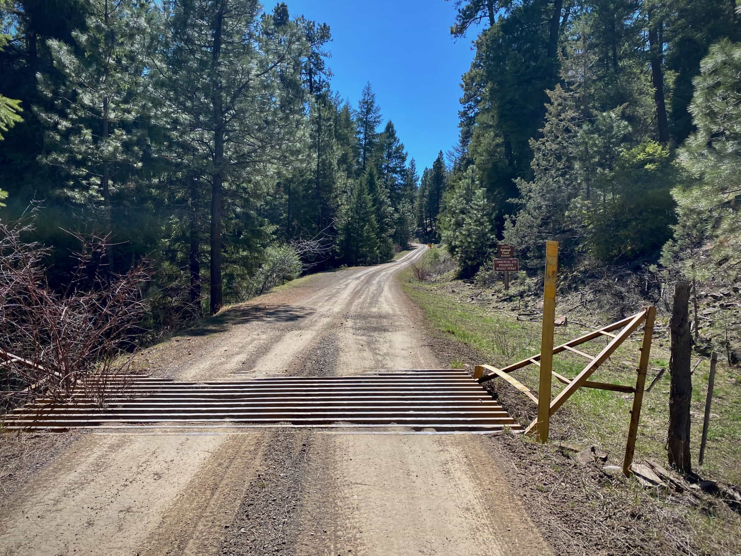 The cattle guard marking the transition from Shotgun ranch to the Ochoco National forest.