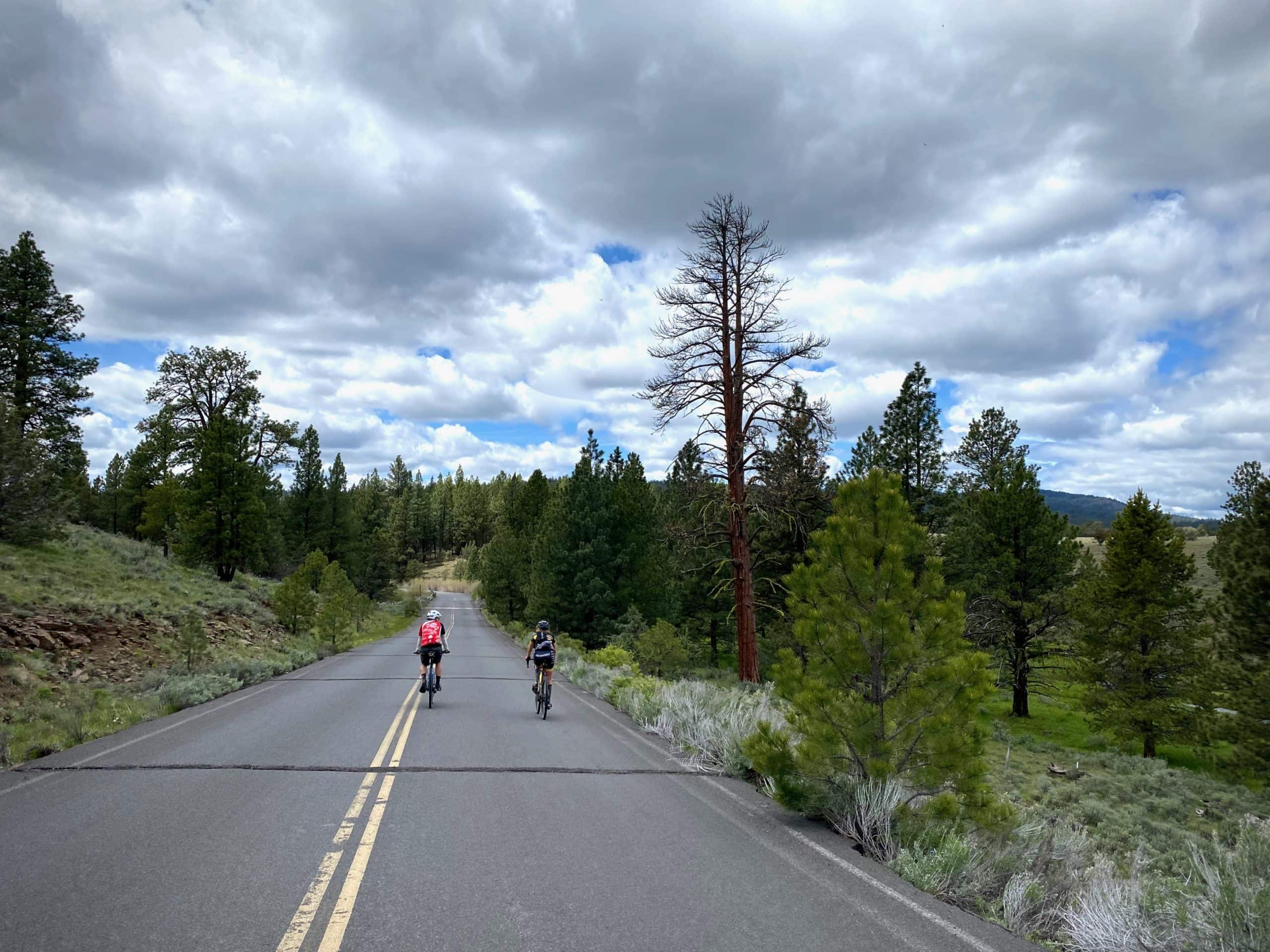 Cyclists riding the paved section of NF-42 near Big Summit Prairie.