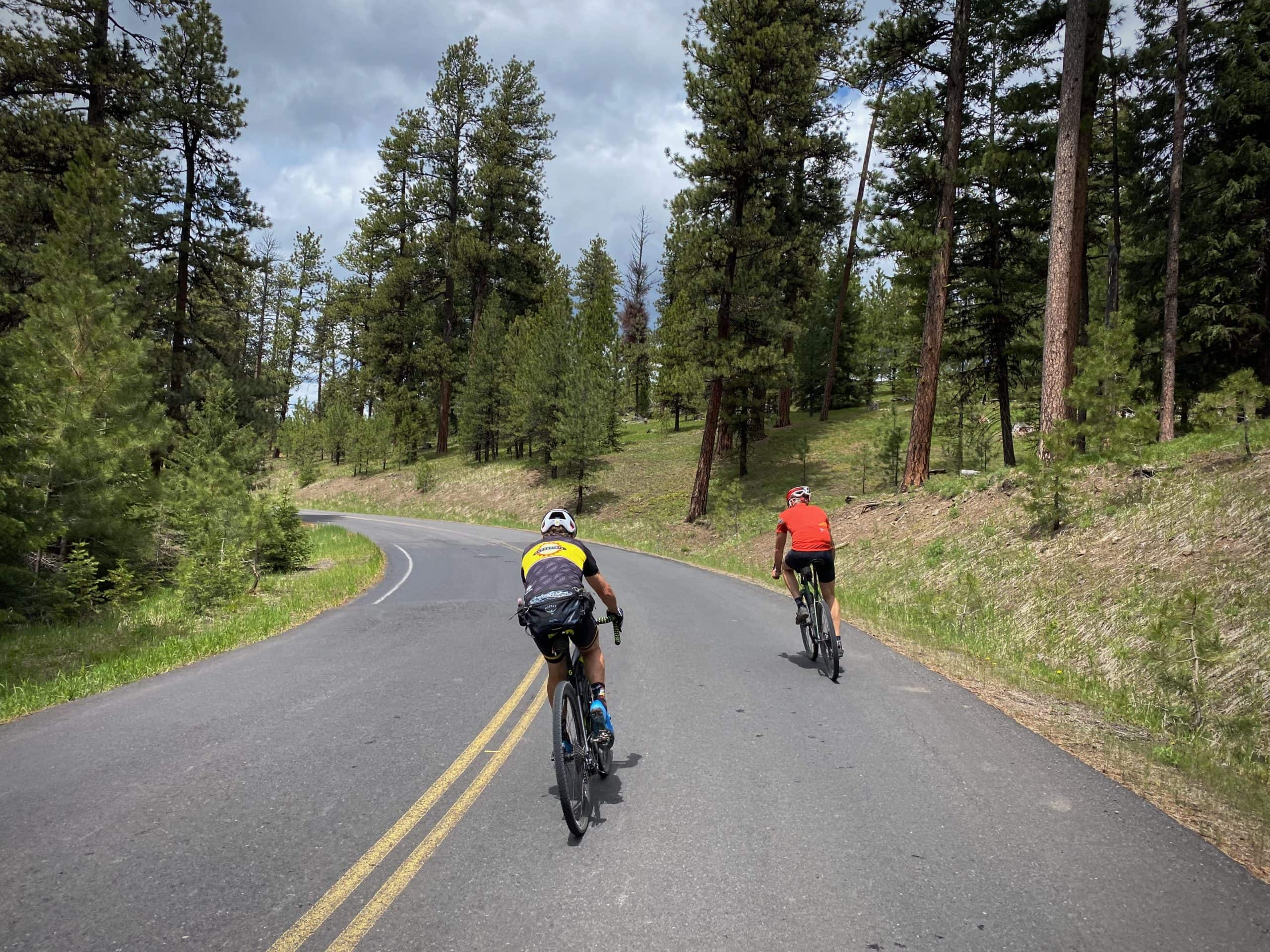 Cyclists descending the paved road from the saddle between Round and Lookout mountains.