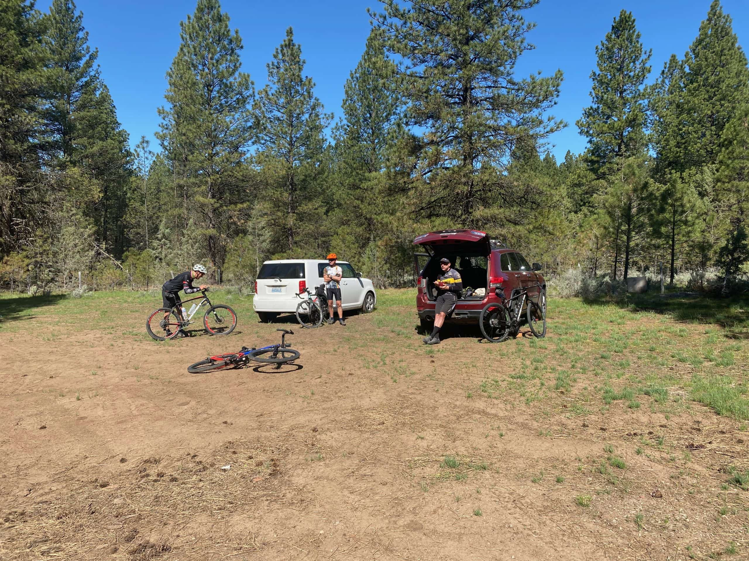The parking area at Salter's cabin in the Ochoco National forest near Paulina, OR.