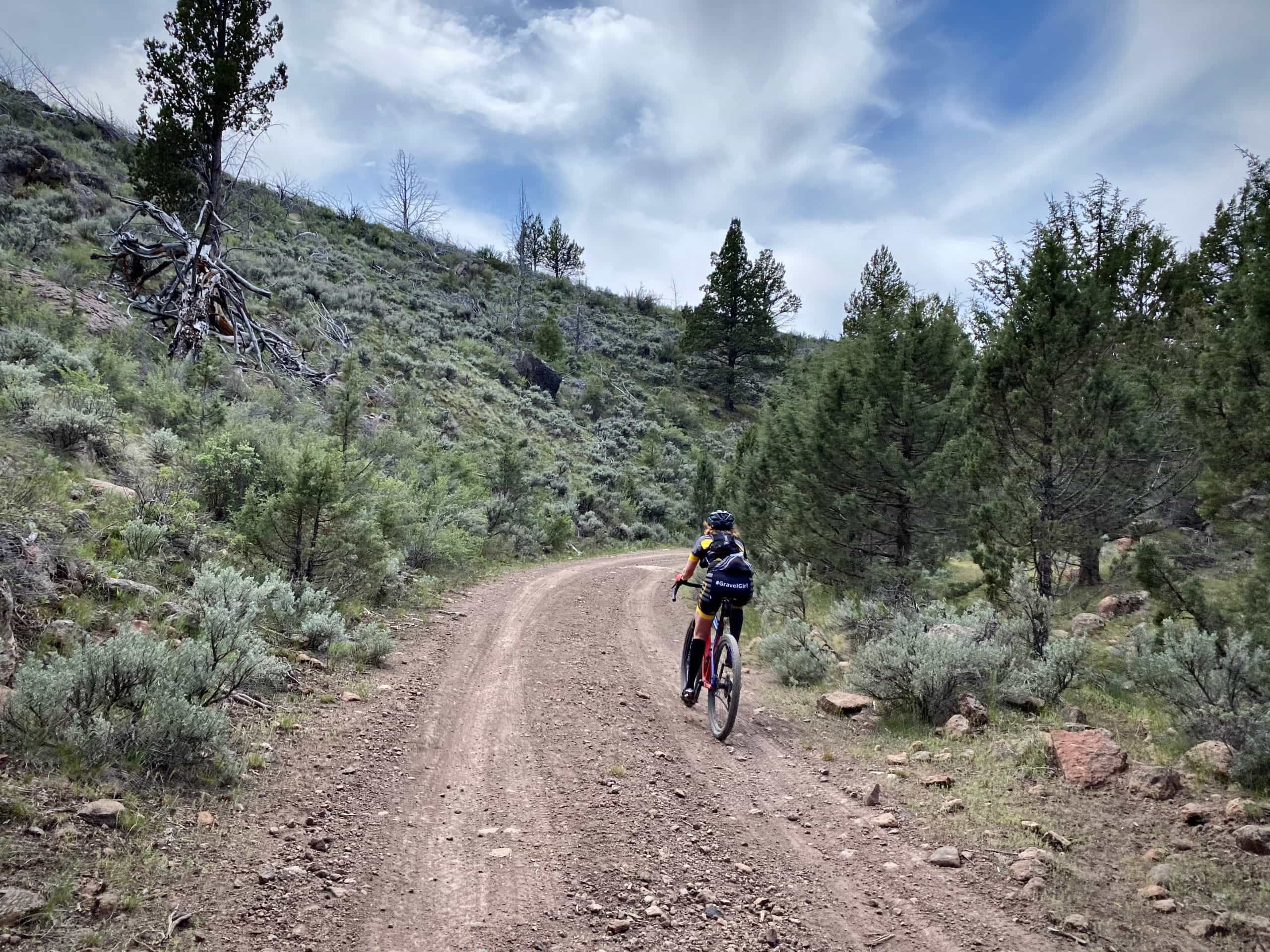 Gravel Girl riding the last segment of the Dick Miller Canyon in Central Oregon.