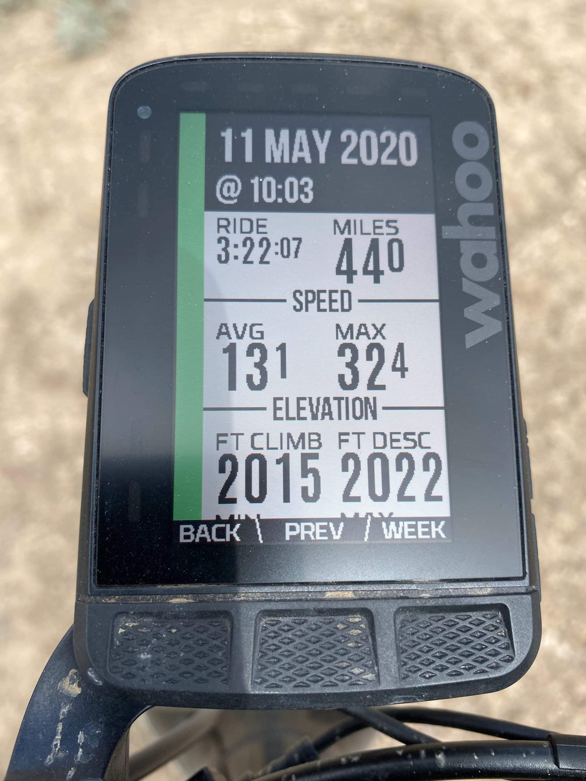Gravel Girl's ride metrics (on Wahoo Roam) for Egypt Canyon route on Dirty Freehub.