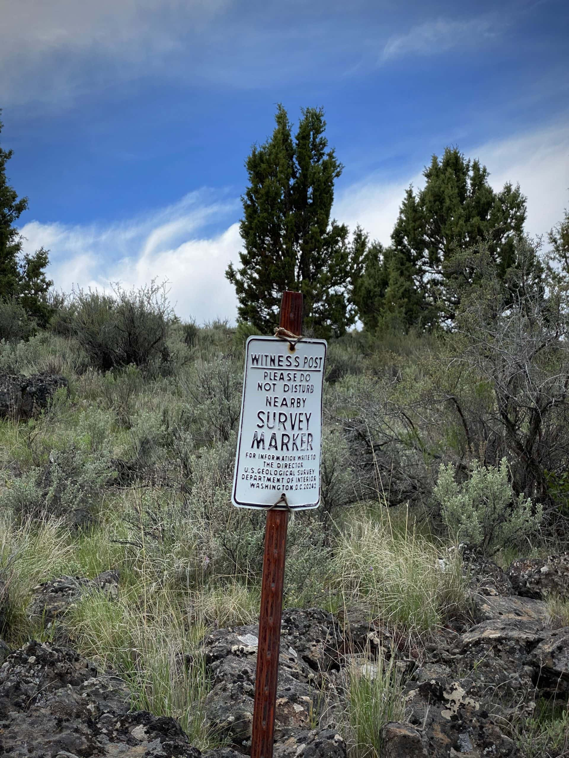 Survey marker sign on McCanlies Road in Harney County, Oregon.