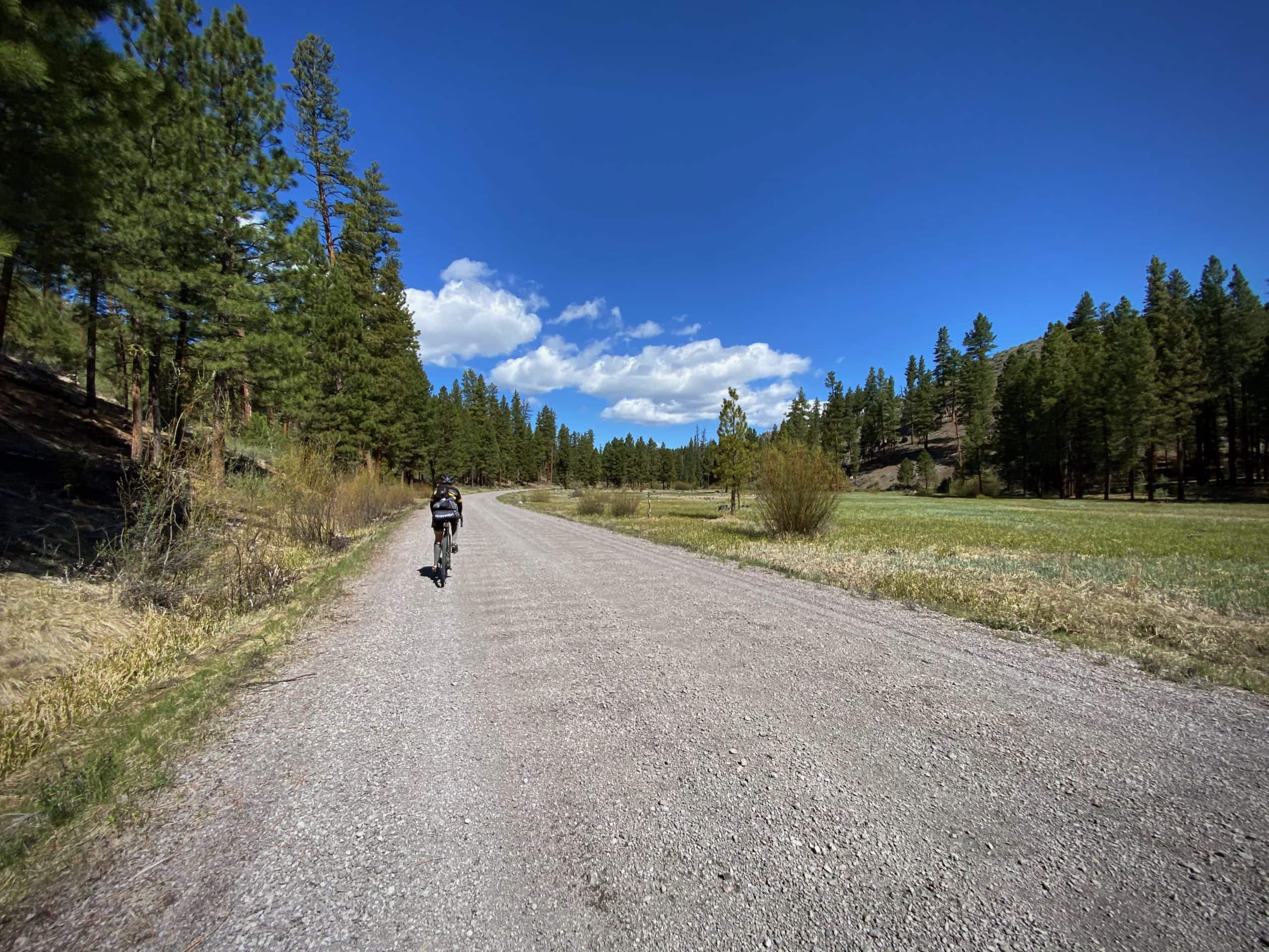 Gravel Girl riding bike next to Sawmill Creek in the Ochoco National forest.