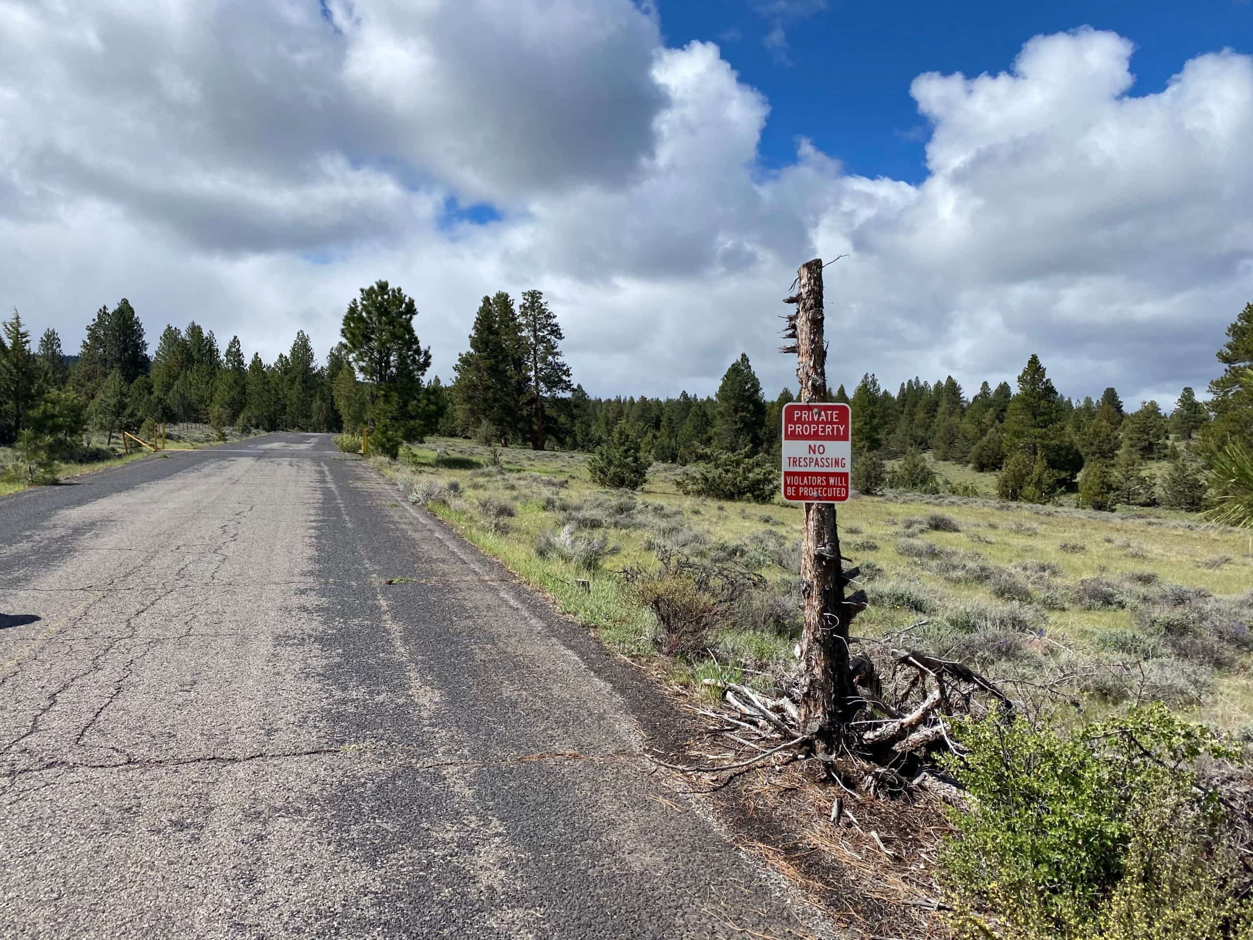 Private property sign on Buck Point road near Mitchell, Oregon.