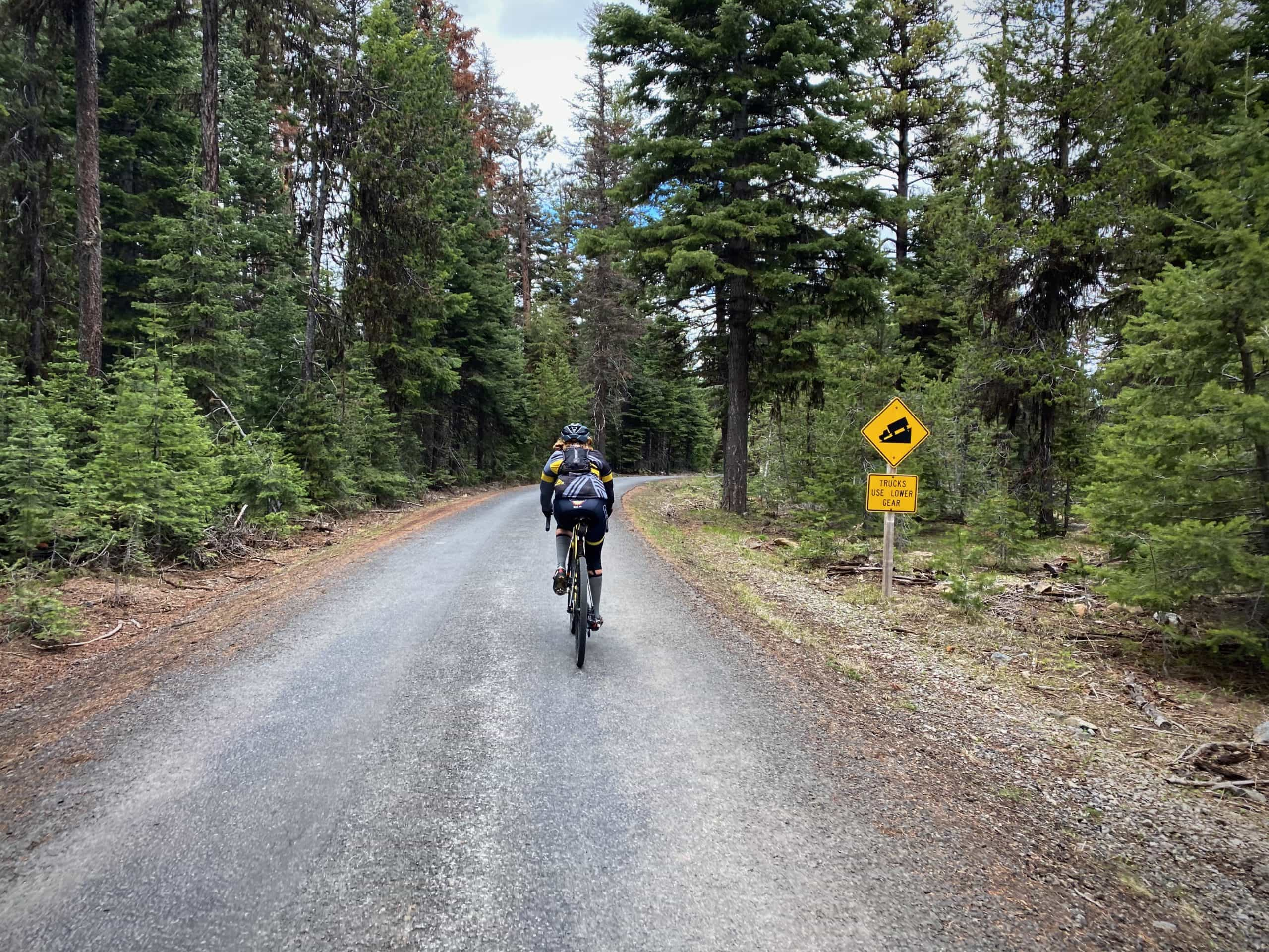 Cyclist about to begin the signature downhill on NF-12 near Mitchell, OR.