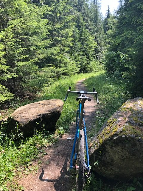 Gravel cyclist on the old abandoned Inside North Fork road in Glacier National park.