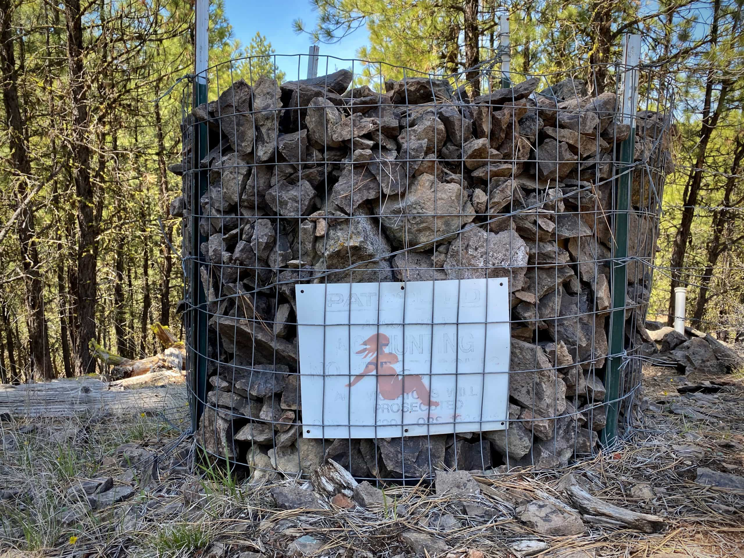 Sign with Pink Lady painted on it in the Ochoco National Forest.