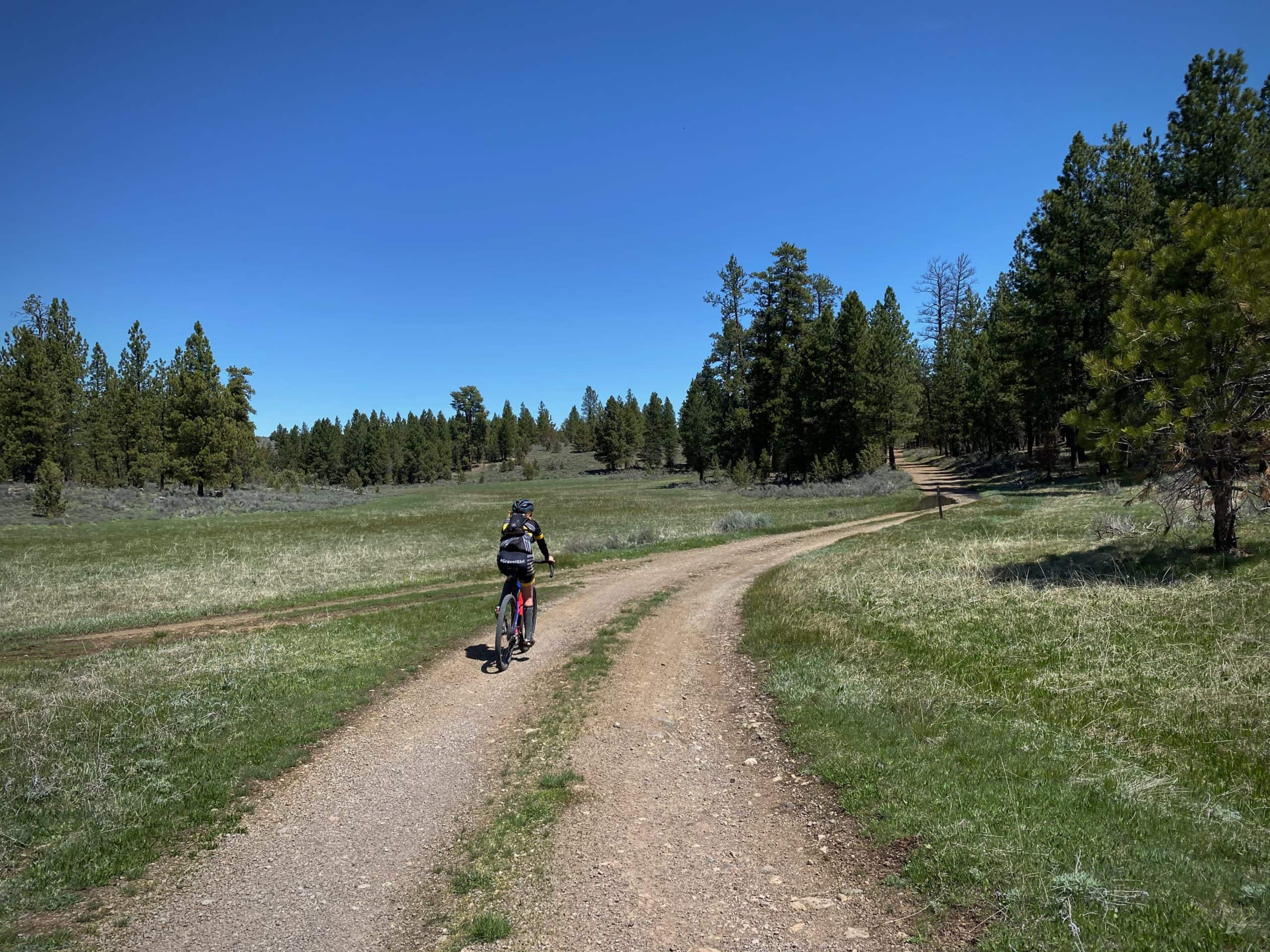 Gravel Cyclist riding through Gravelly Flat in the Ochoco National Forest near Burns, OR.