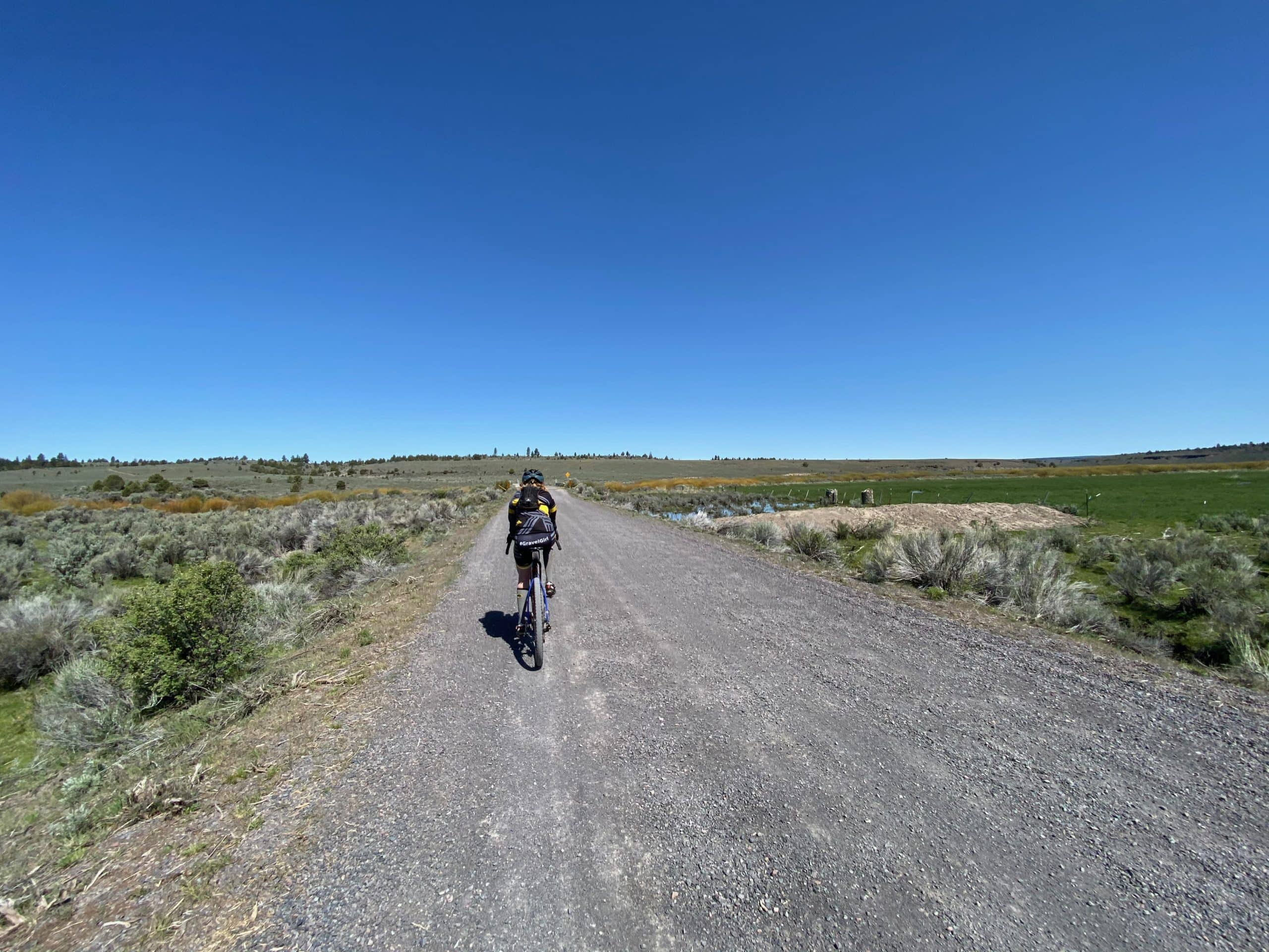 Gravel Girl on NF-45 leading out of Upper Valley near Riley, OR.