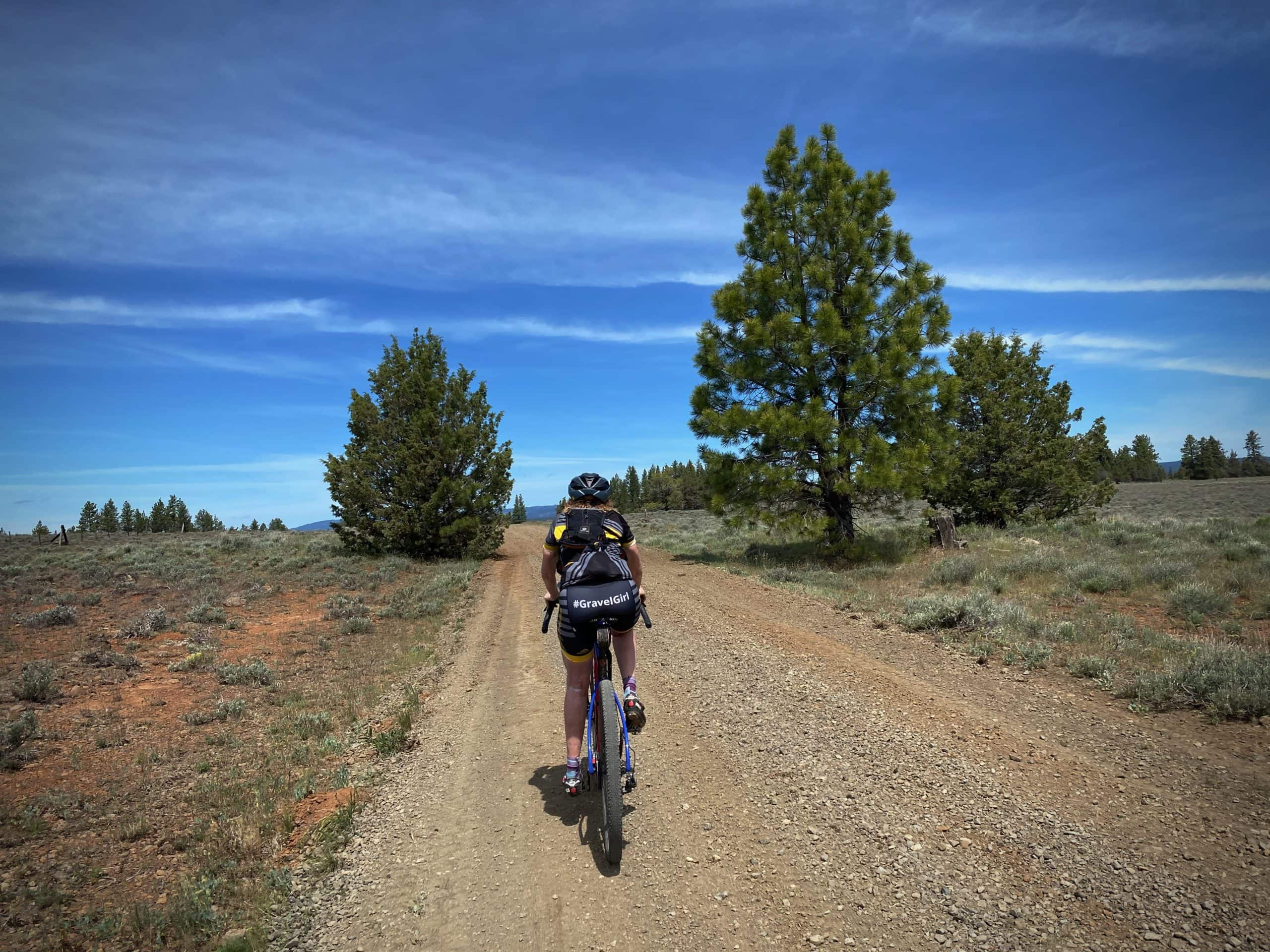 Arid rangelands in the Ochoco National forest with a bike rider on gravel road.