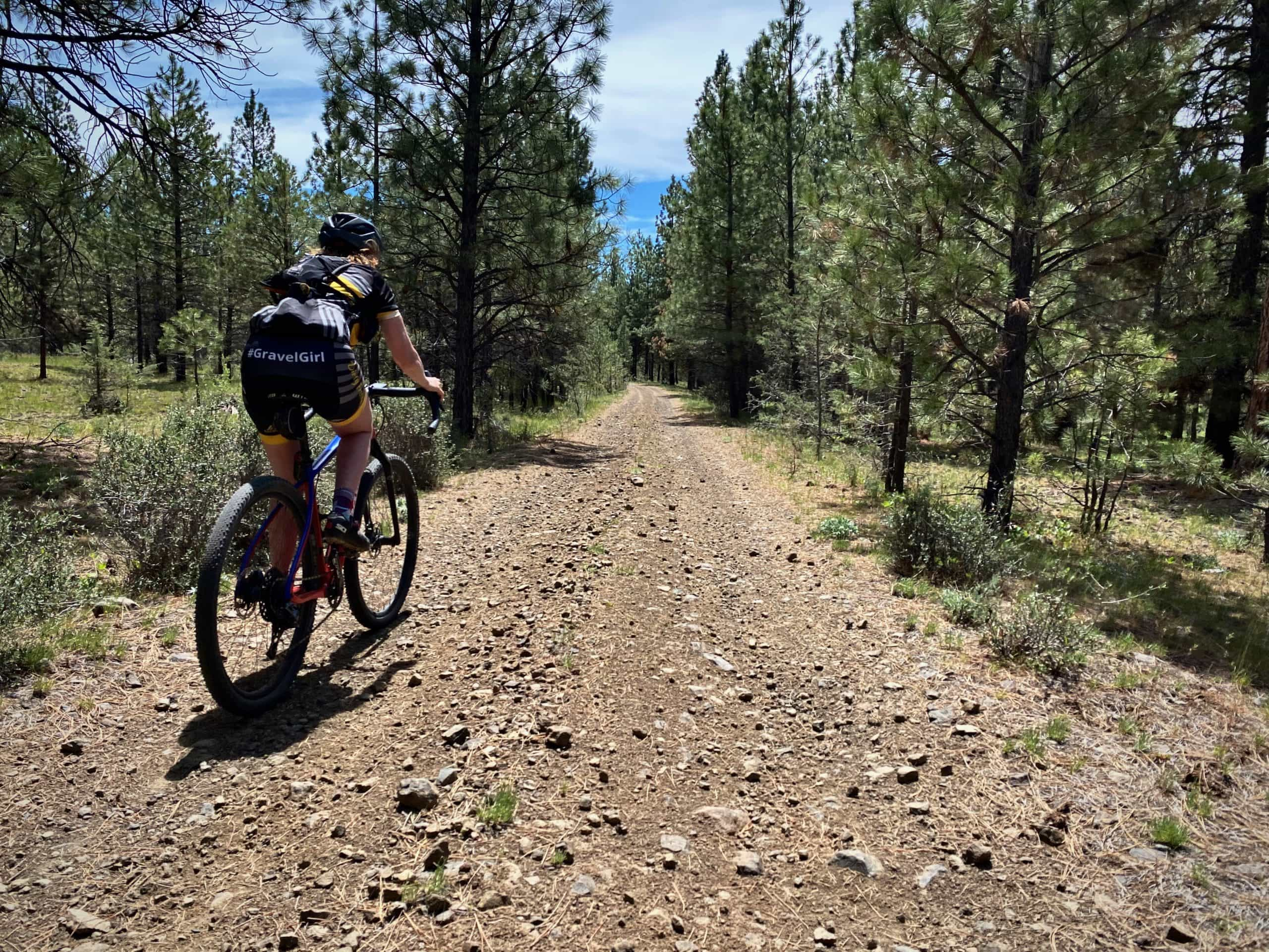 Cyclist descending rough and rocky gravel road near Paulina, OR.