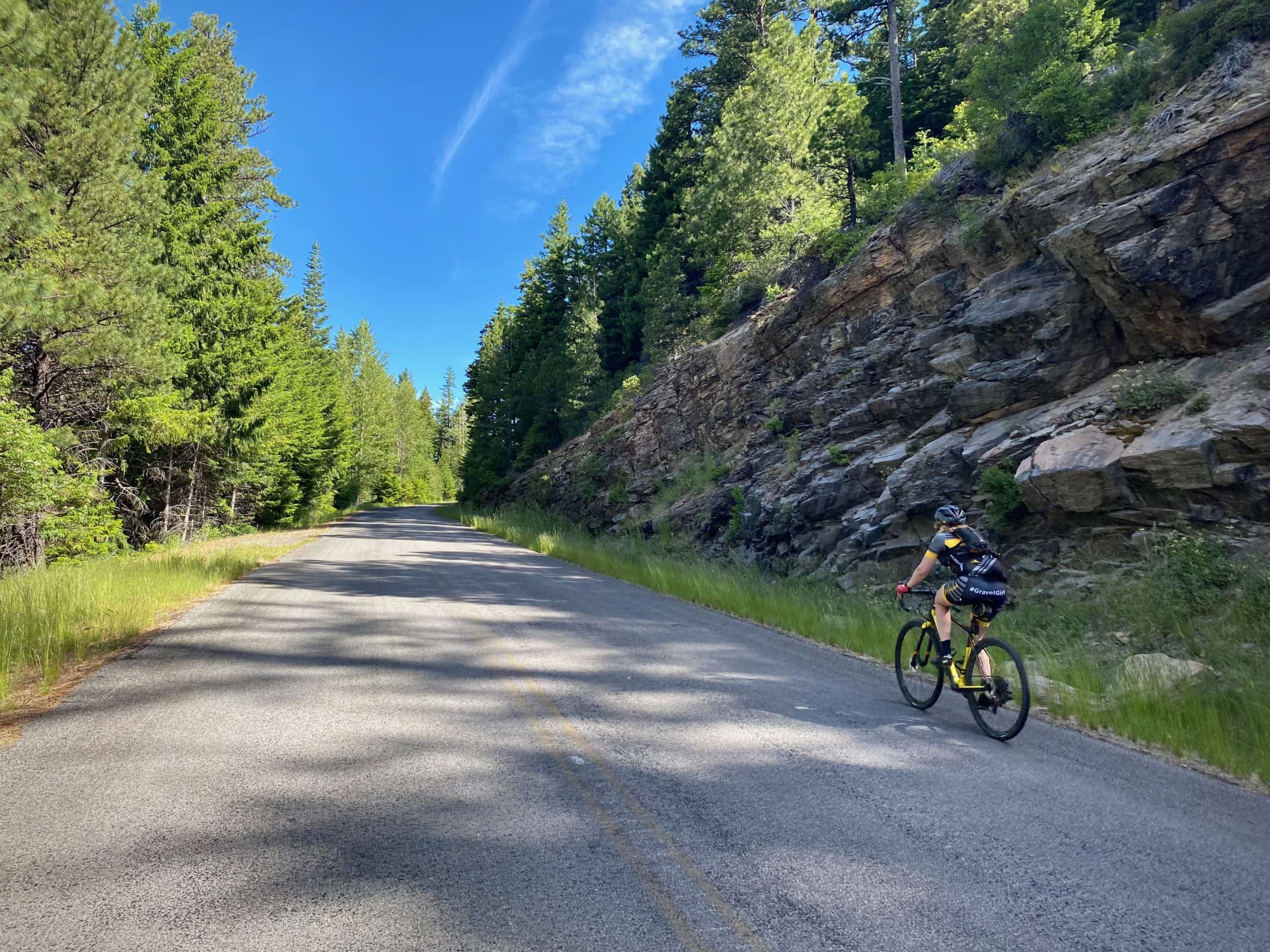Gravel Girl riding the hill on Brooks Meadow Road / NF 44 to Parkdale, Oregon.