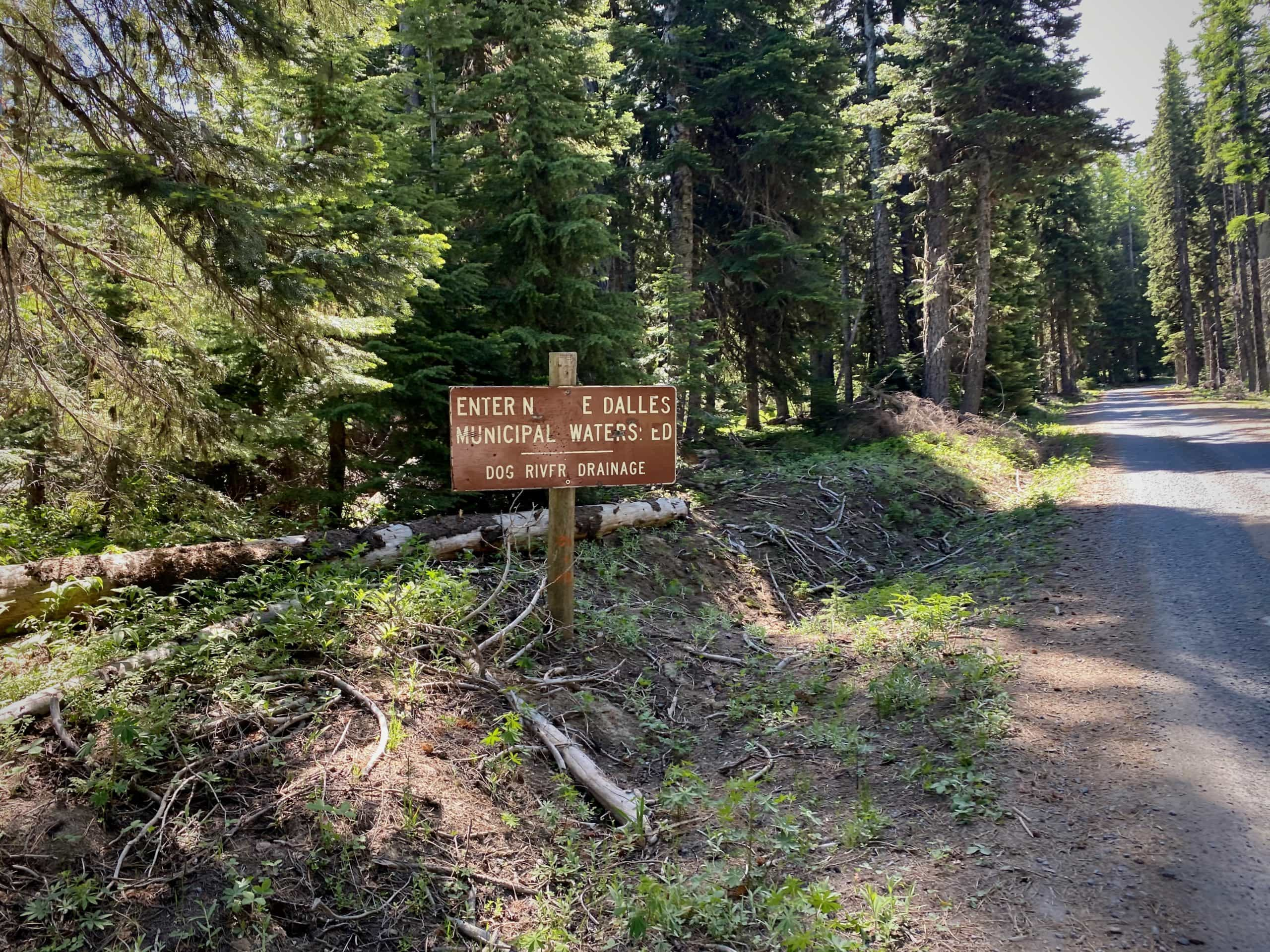 Sign for the protected watershed of The Dalles in Mt Hood National forest.