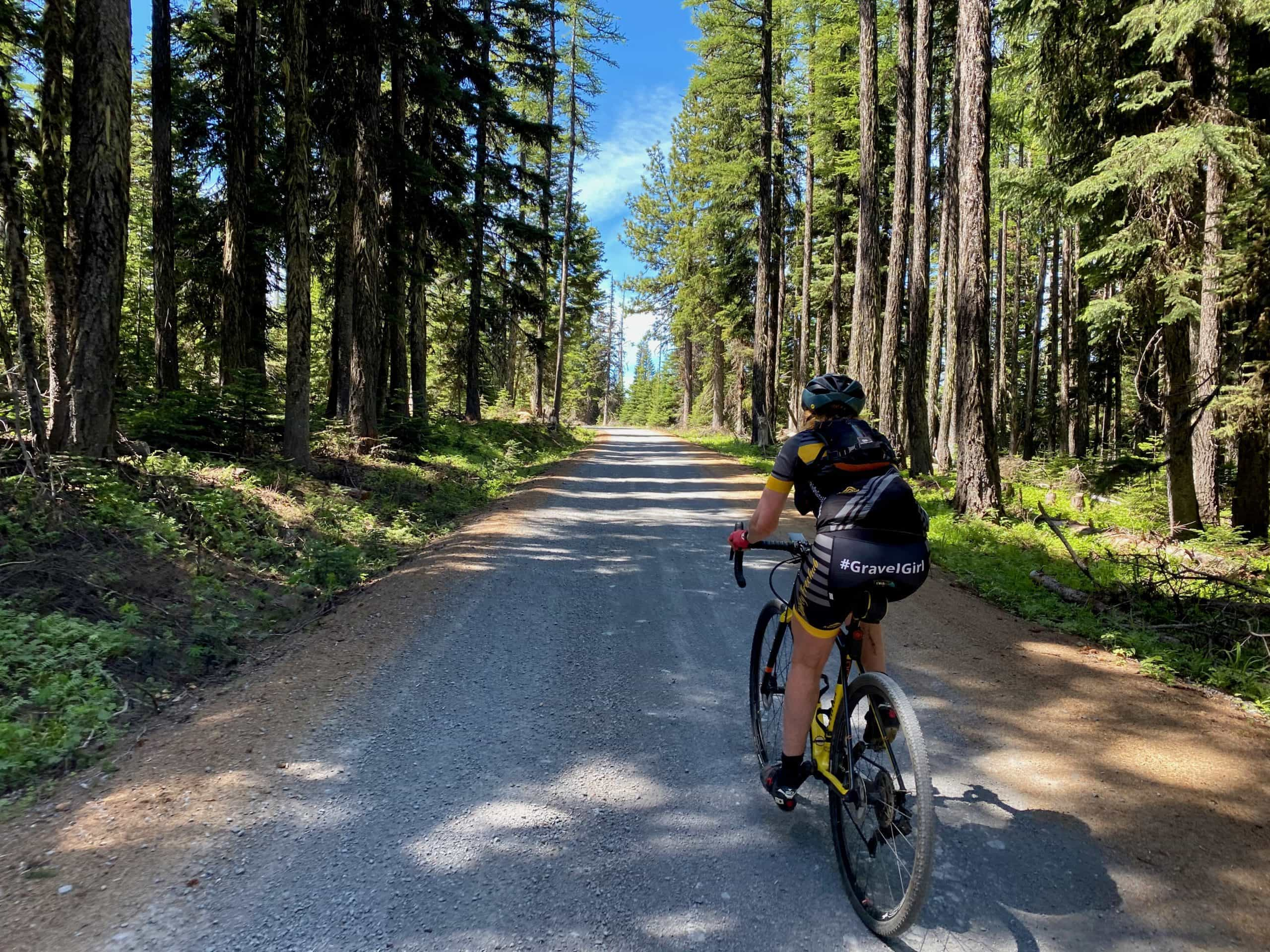 Gravel Girl on Lookout Mountain road near High Plains in Mt Hood National forest.