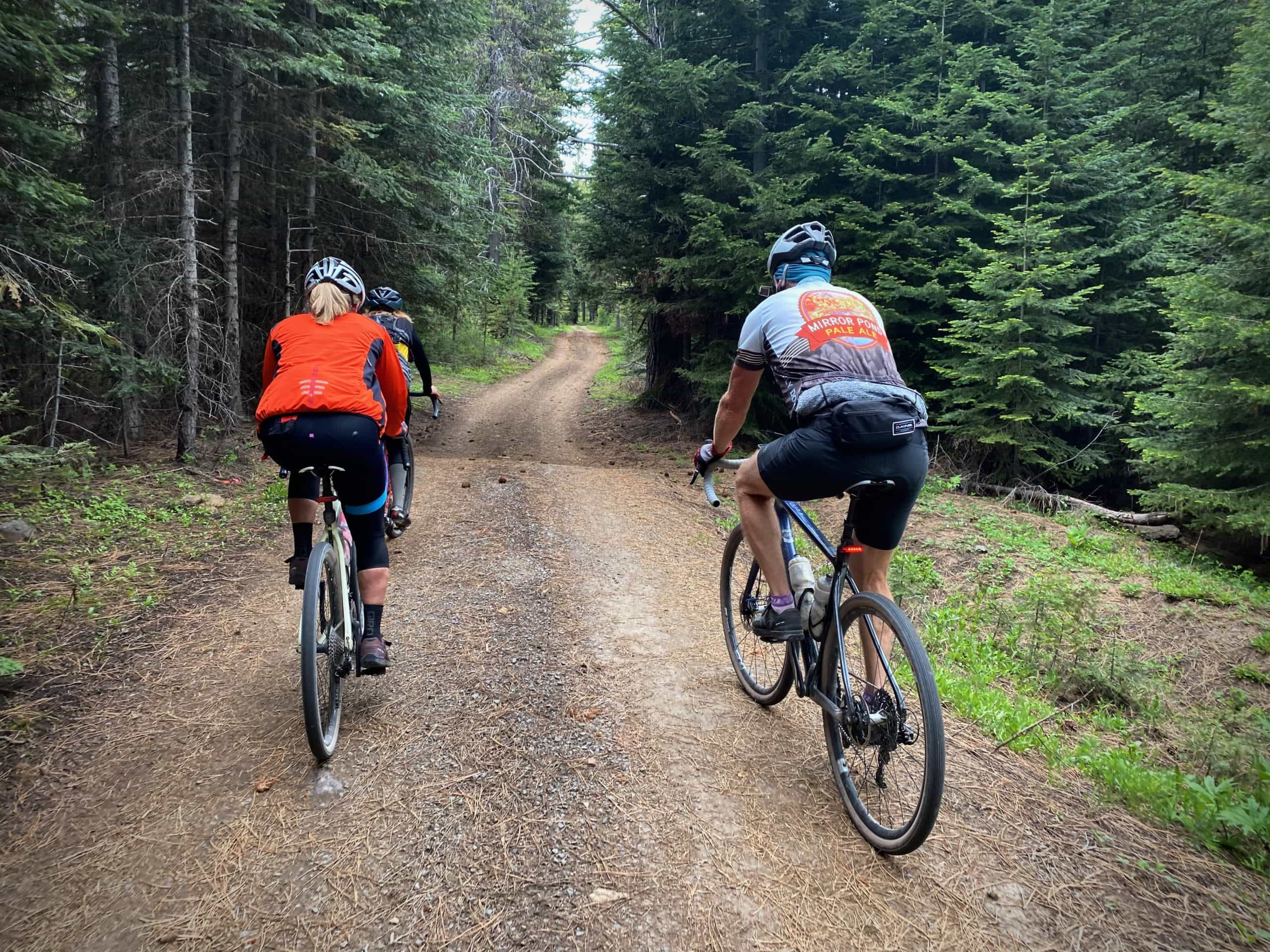 Two cyclists on loamy forest service roads near Dufur, Oregon.