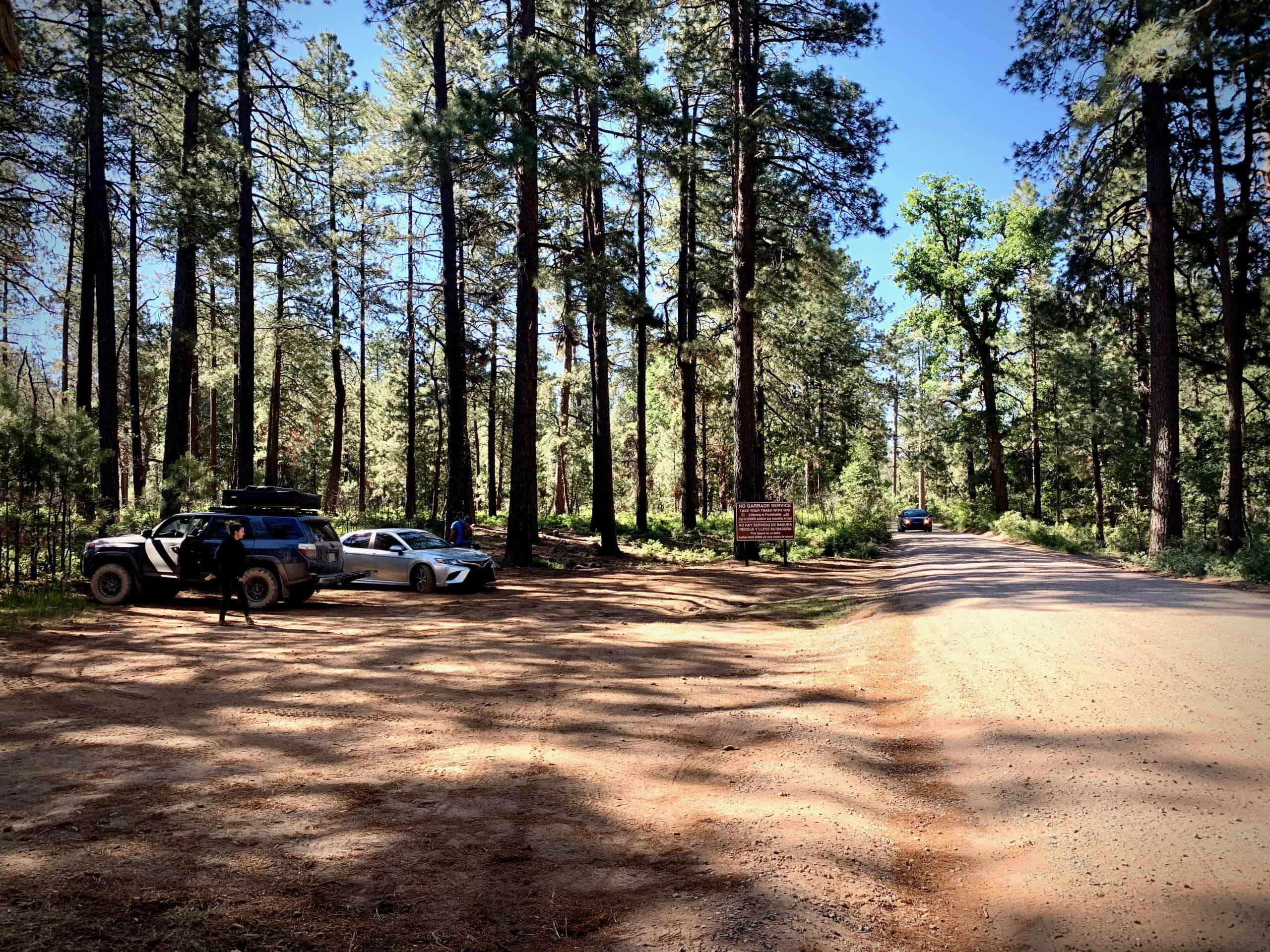 The parking area at the intersection of the Rim Road (NF 300) and Arizona State Route 87.
