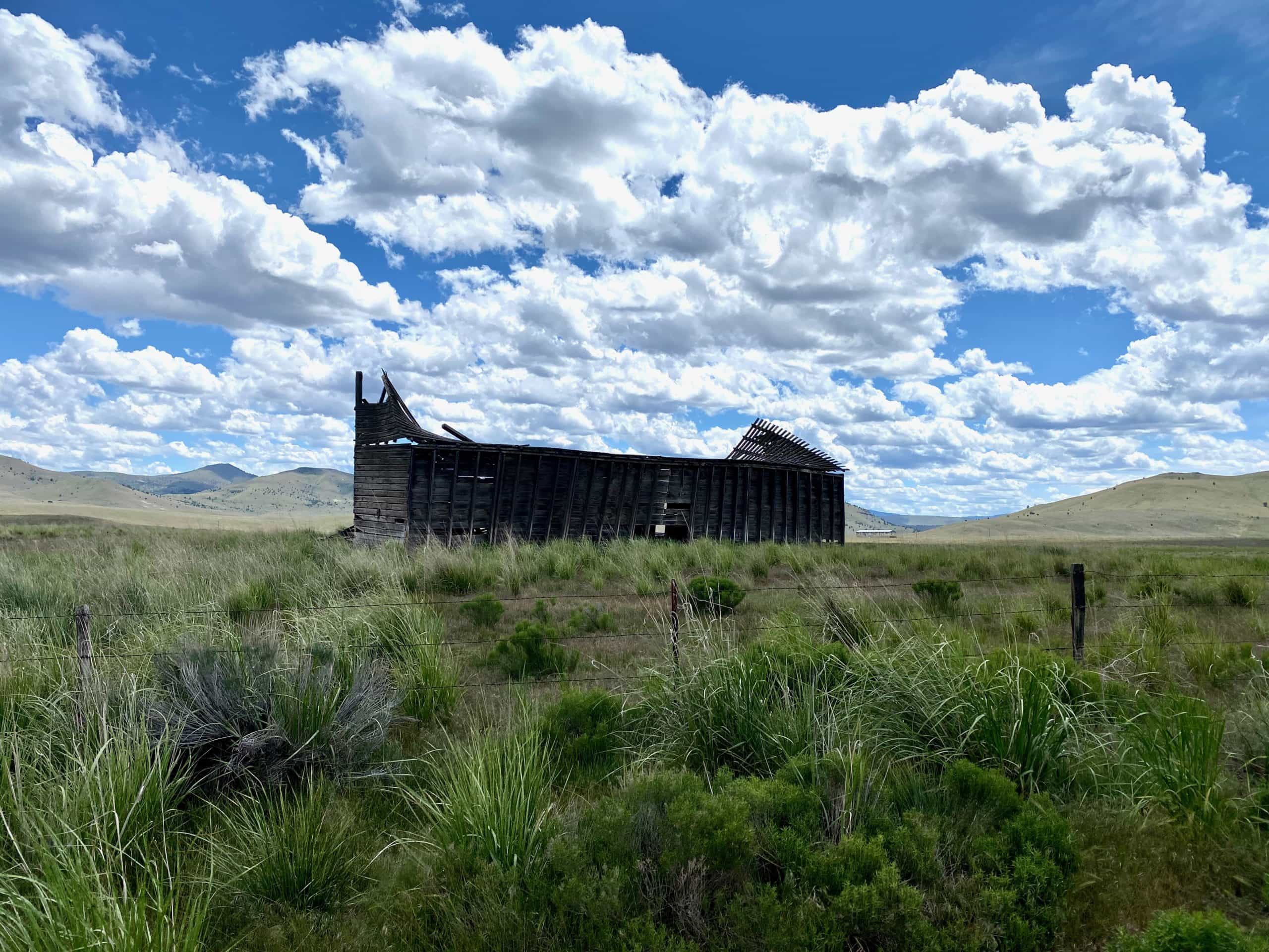 Old, historic building near the Waterman Flat junction in Central Oregon,