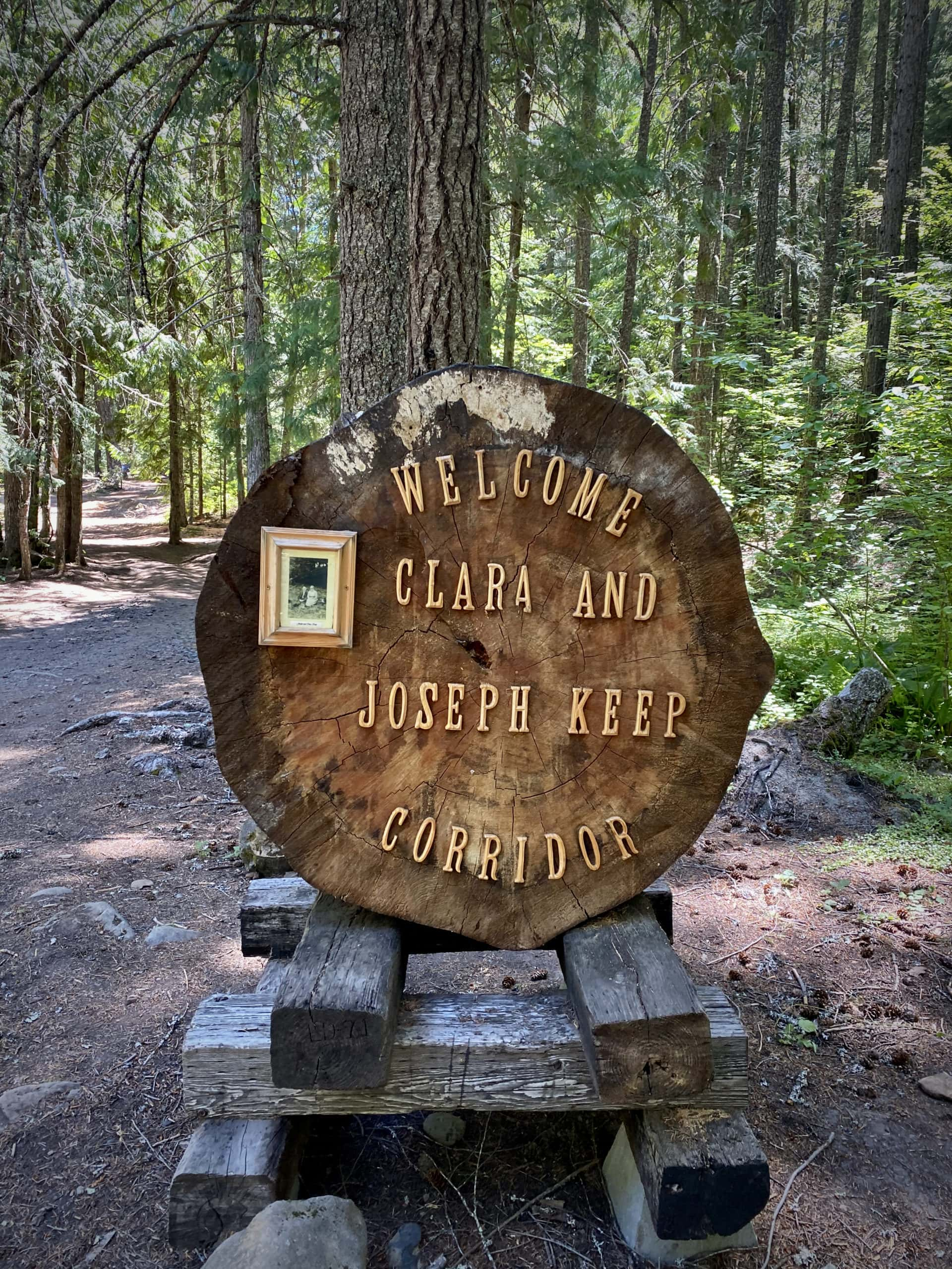 Historic marker at Keeps Mill campground in the Mt Hood National forest.