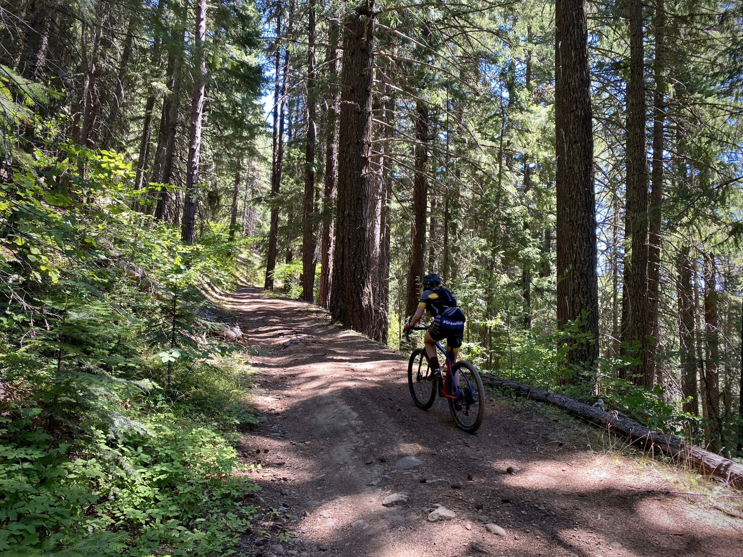 Gravel cyclist on dirt road near Keeps Mill campground in Oregon.
