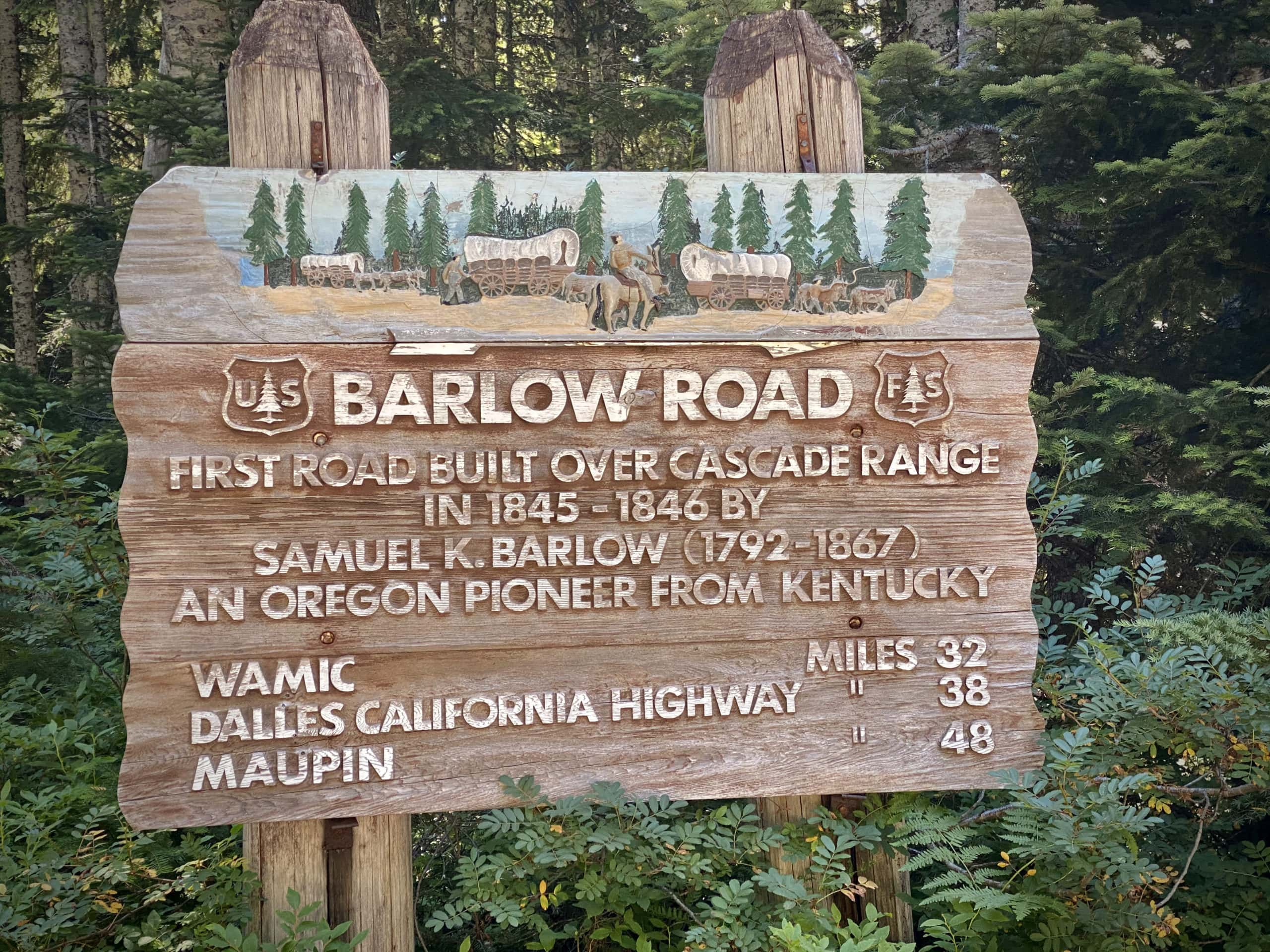 Barlow Road historical sign near Highway 35 and Mt Hood.