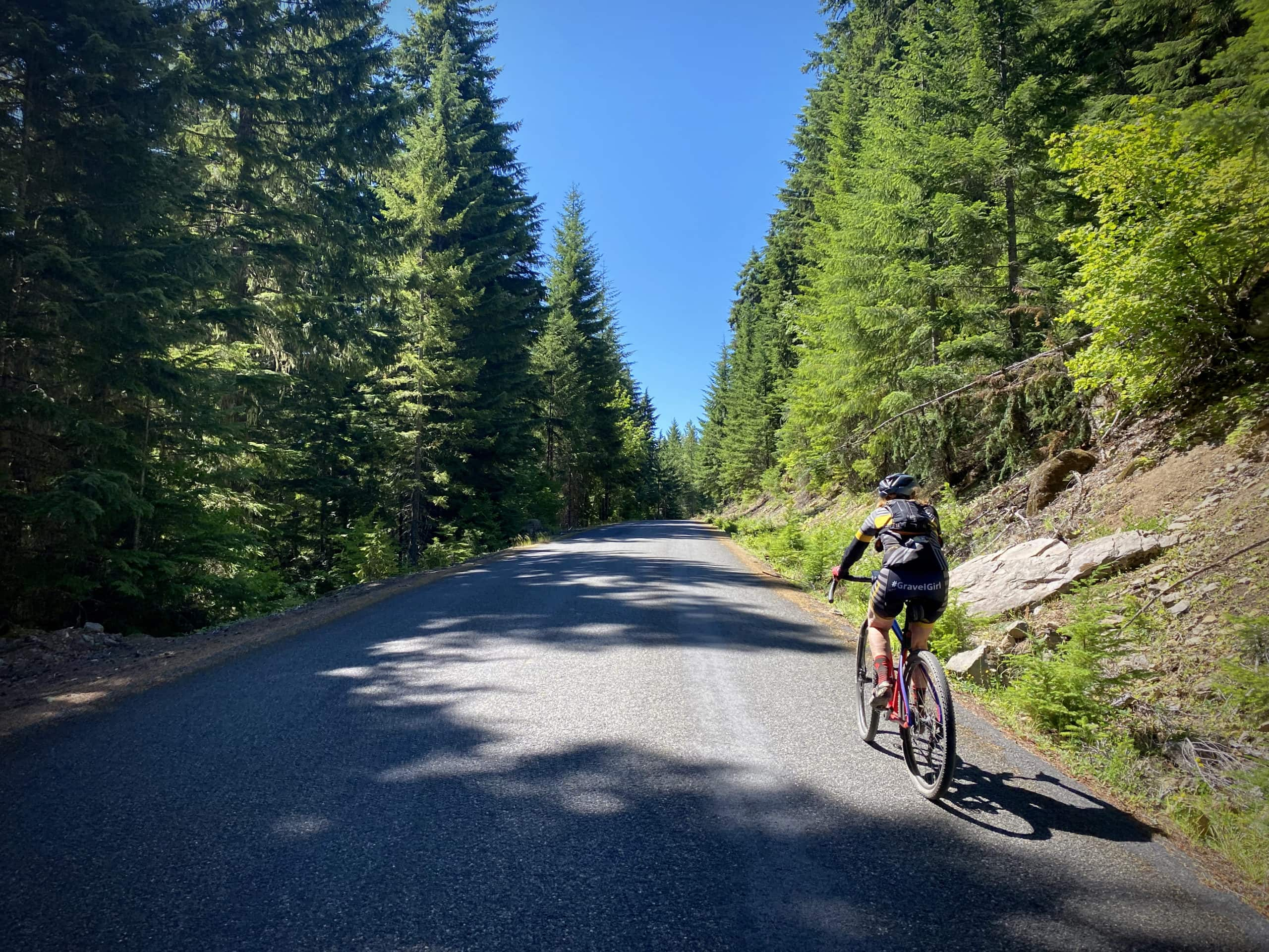 Cyclist riding on 2-lane paved road, Cedar Burn road, in the Mt Hood National forest.