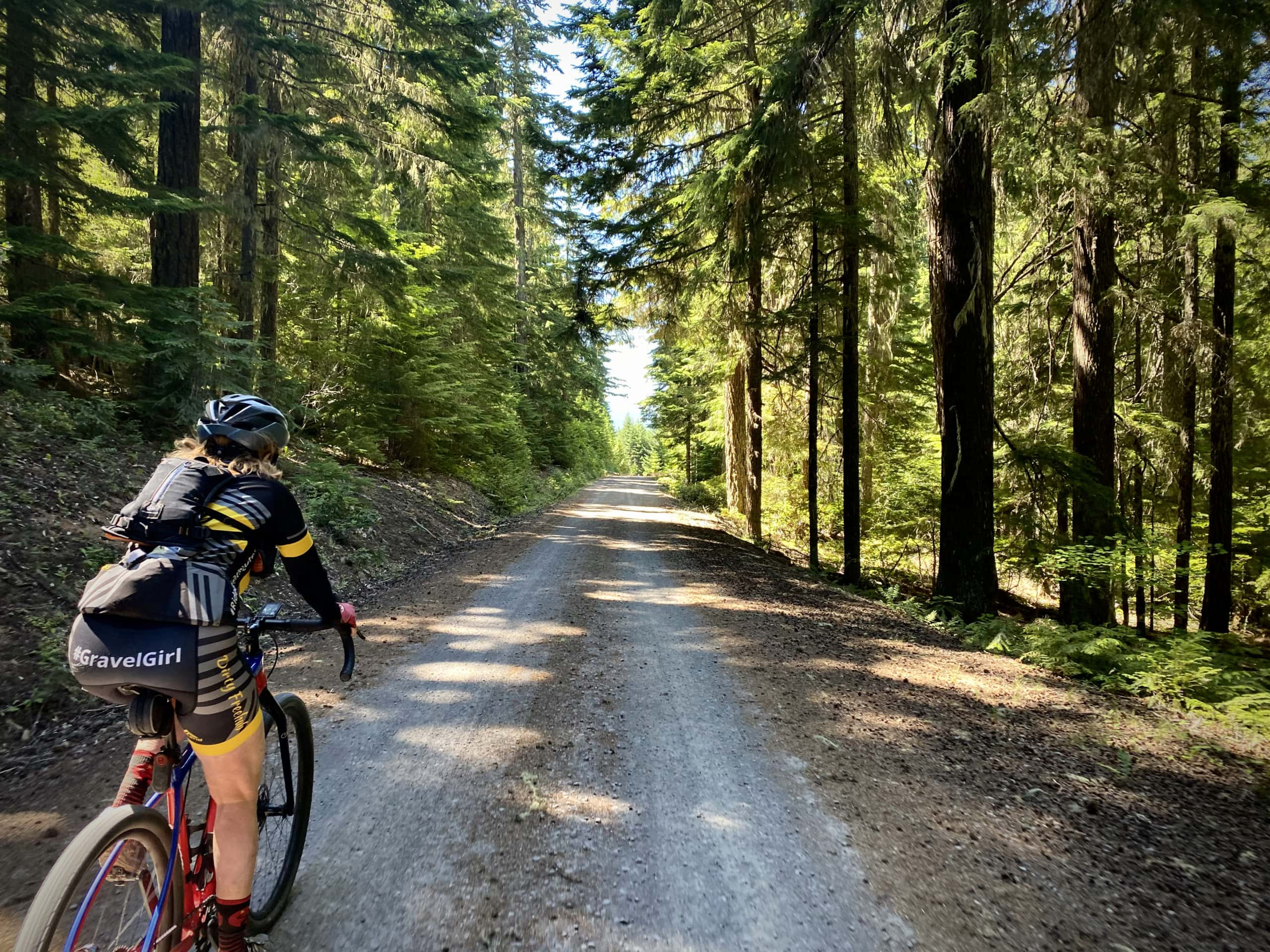 Cyclist on hard packed, fast gravel road in the Mt. Hood National forest.