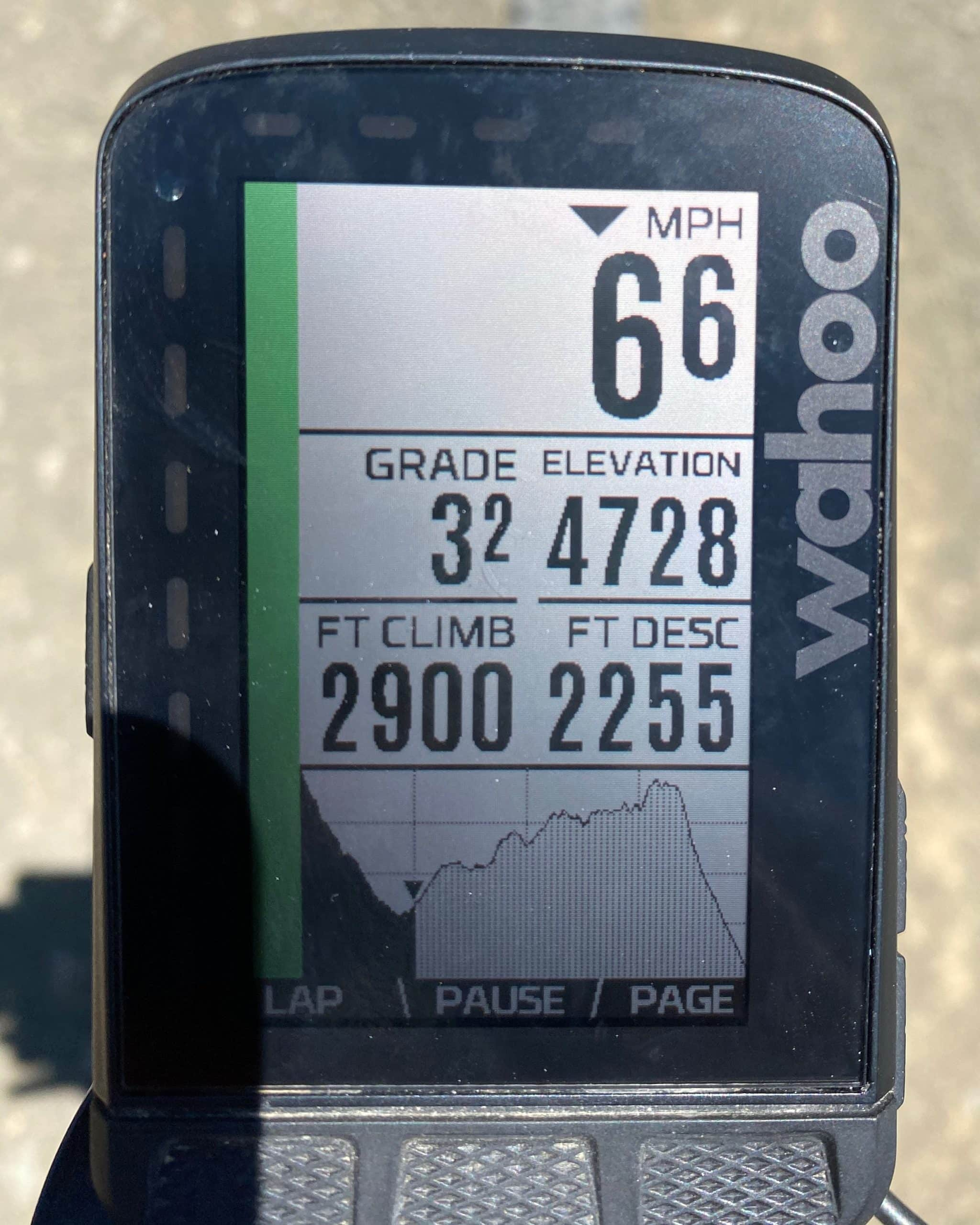 Wahoo Roam elevation profile for the Broadway Lava route on the gravel website Dirty Freehub.